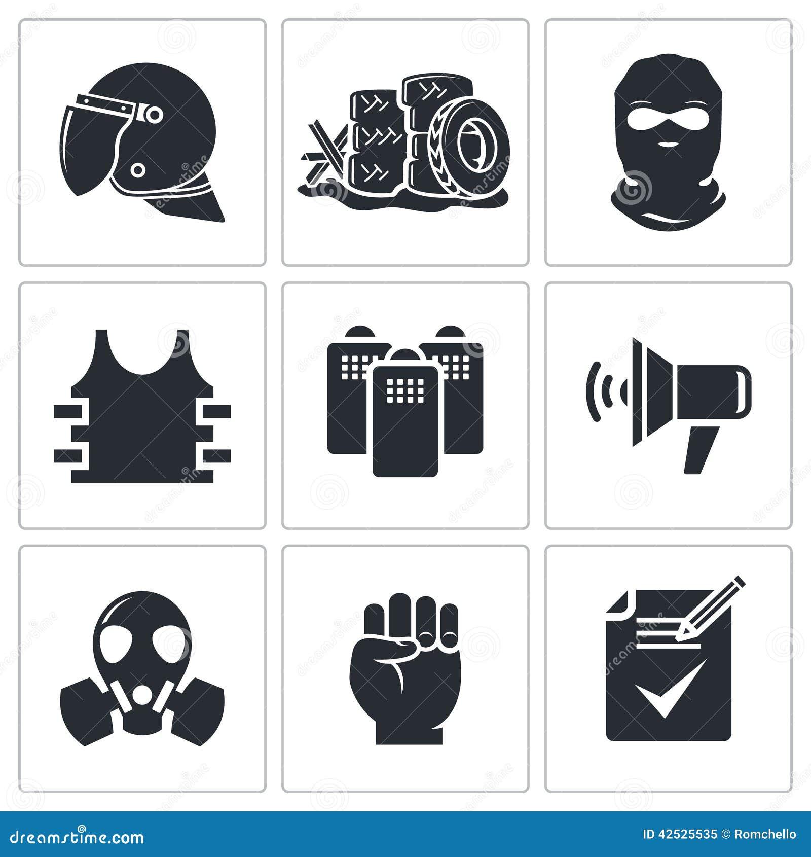 Zamieszki w ulicznych wektorowych ikonach ustawiać