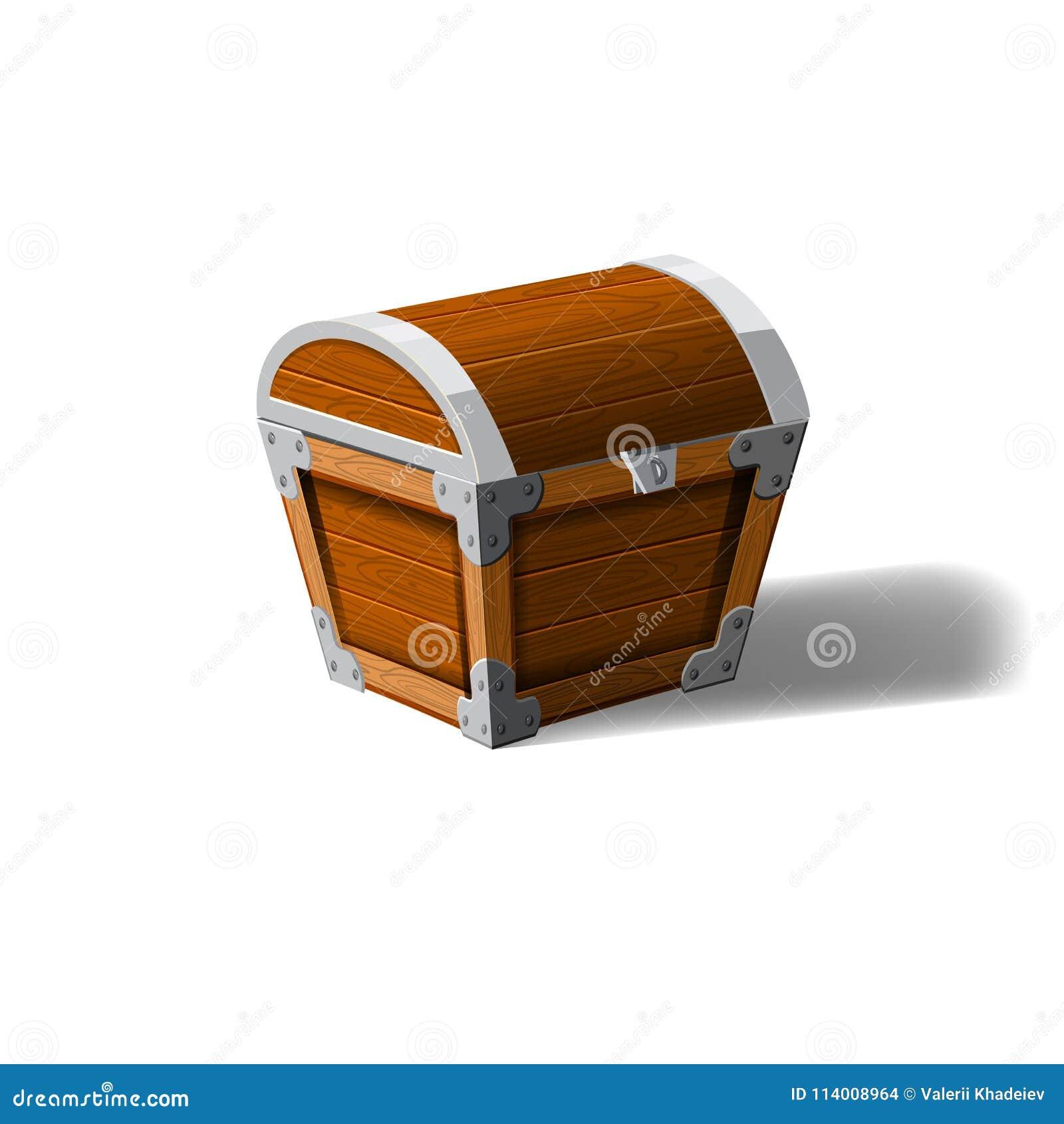 Zamkniętej pirat klatki piersiowej drewniany pudełko Symbol bogactw bogactwa Kreskówka płaski wektorowy projekt dla hazardu inter