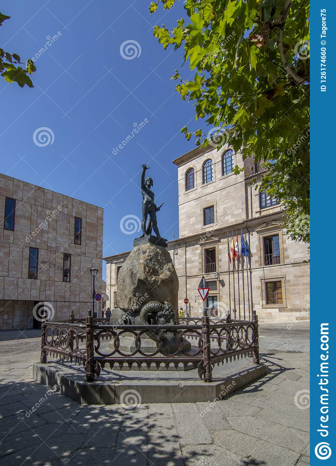 Plaza Viriato with sculpture of the same one in Zamora Spain
