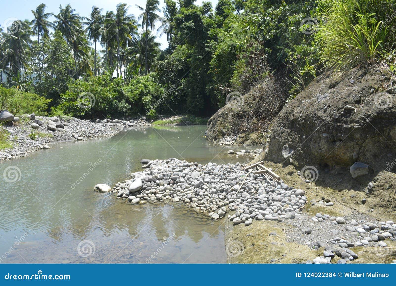 Zamulona porcja Ruparan riverbank przy barangay Ruparan, Digos miasto, Davao Del Sura, Filipiny