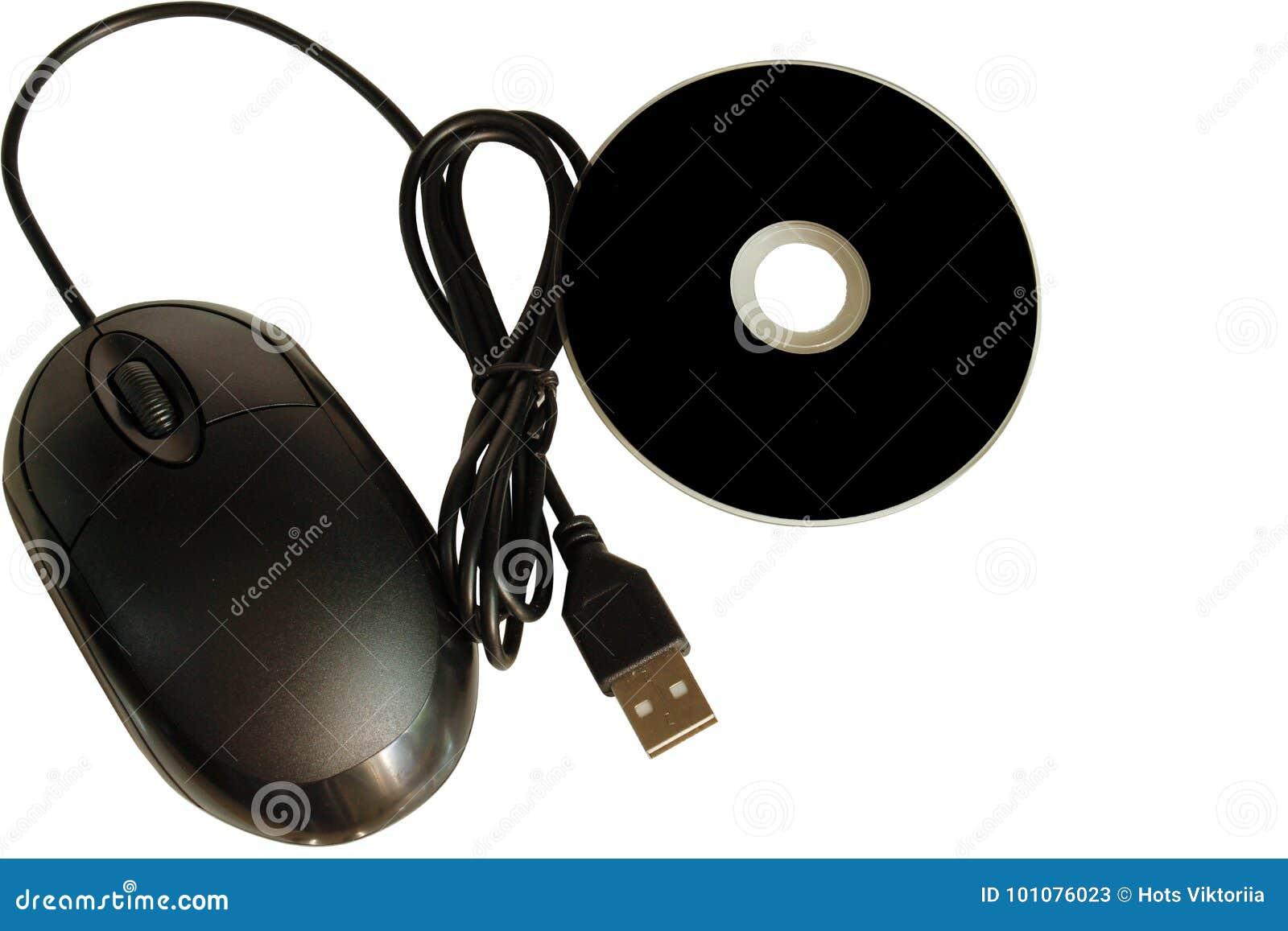 Zamyka up cd dvd dysk i komputerowa mysz na białym tle