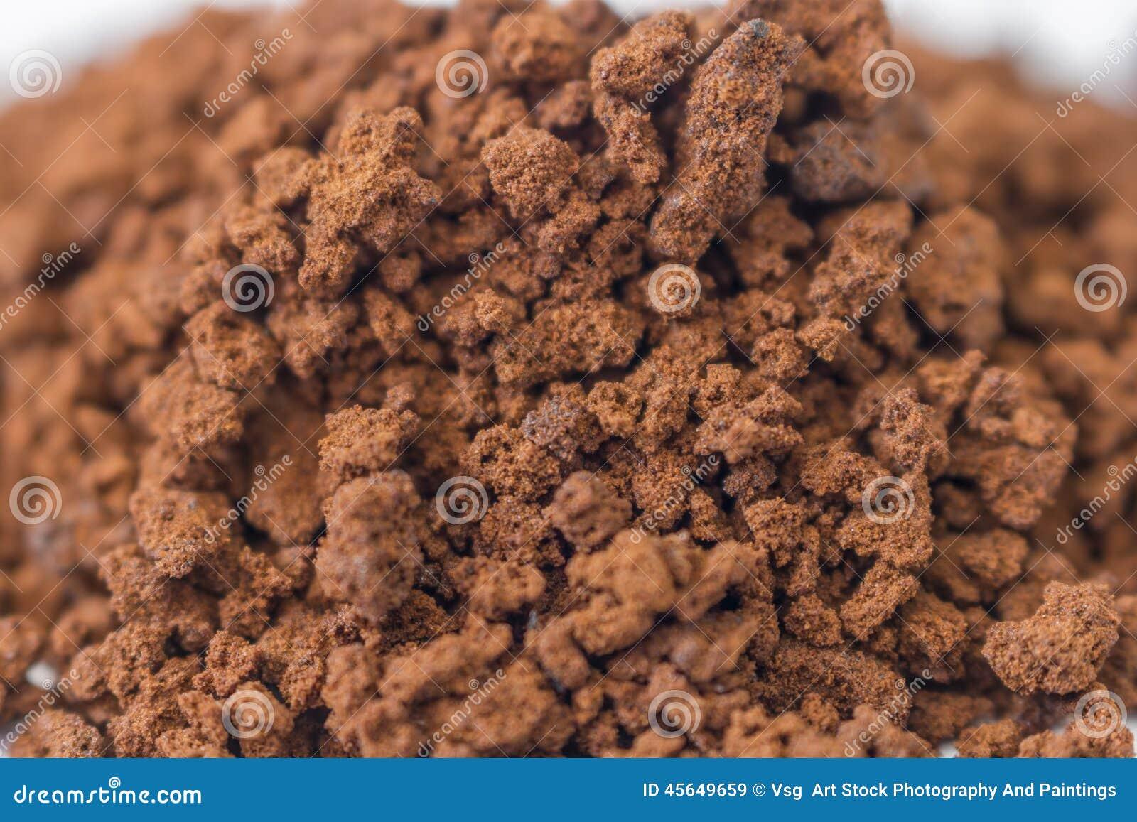 Zamyka up granuluje natychmiastowa kawa