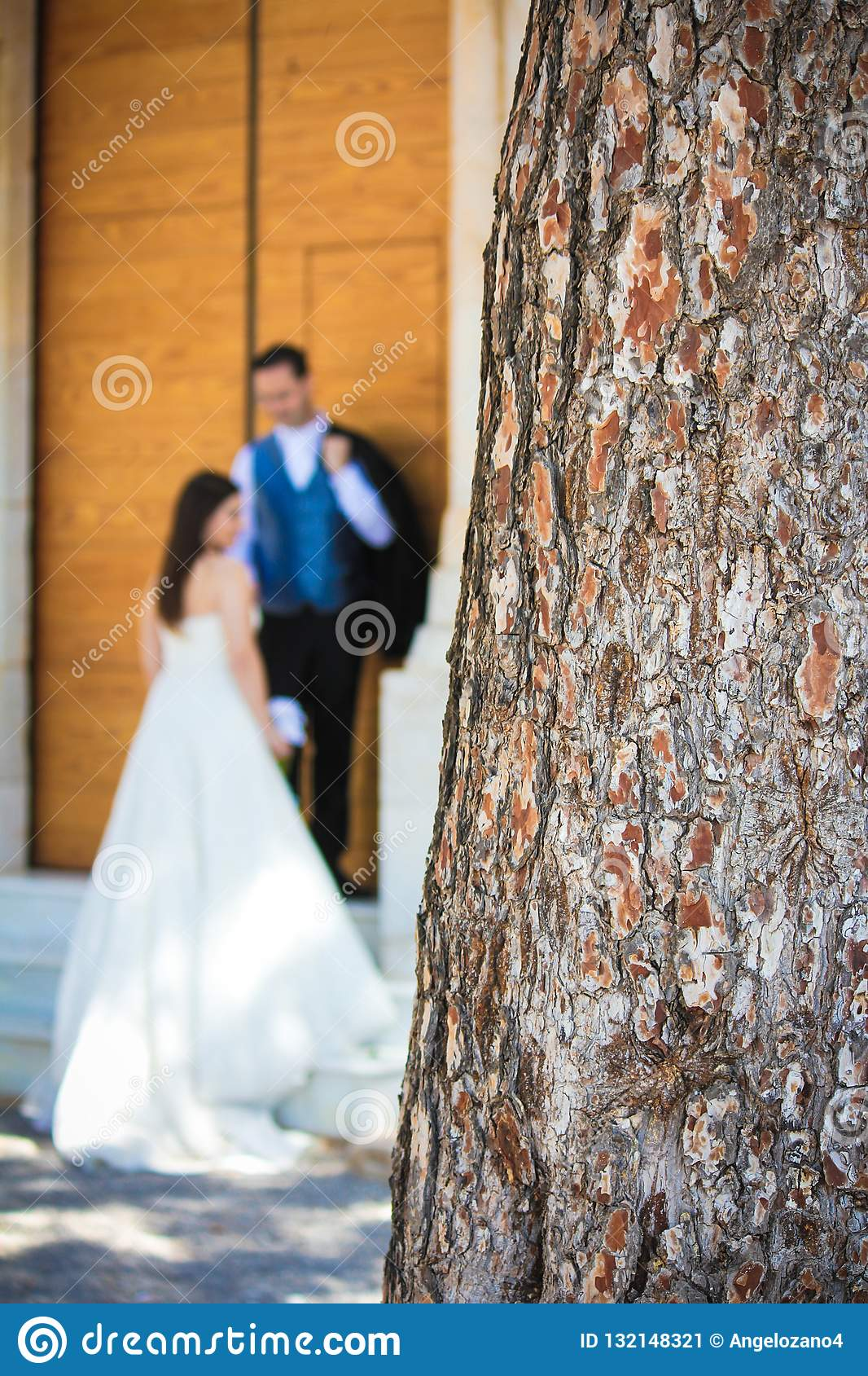 Zamyka w górę bagażnika i młodej ślub pary w tle