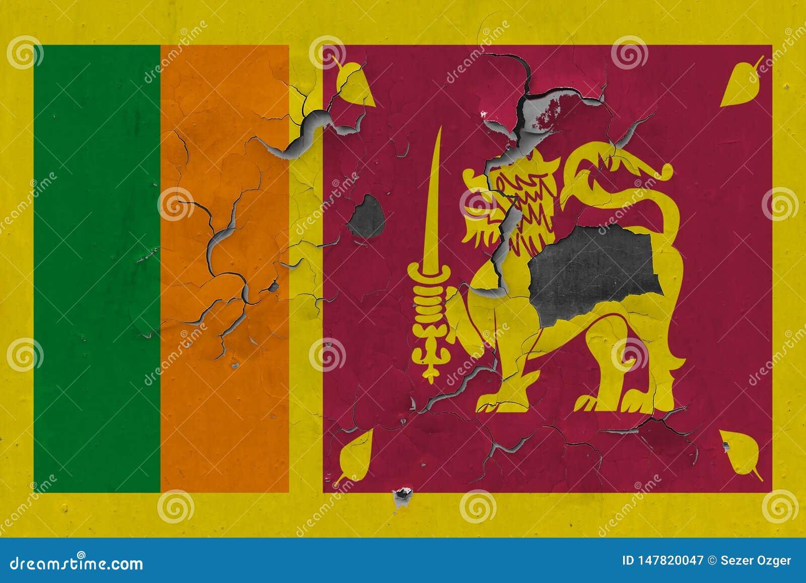 Zamyka w górę grungy, uszkadzającej i wietrzejącej Sri Lanka flagi na ścianie struga daleko farbę widzieć wśrodku powierzchni,