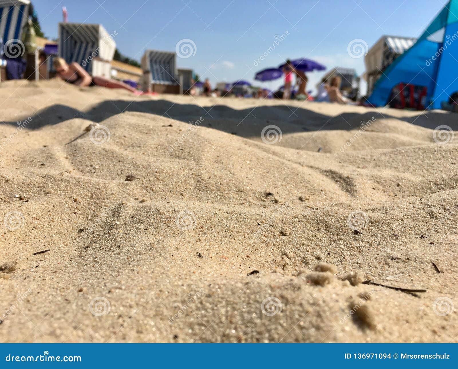 Zamyka w górę piaska i plaży na gorącym letnim dniu przy Strandbad Wannsee w Berlin 2018