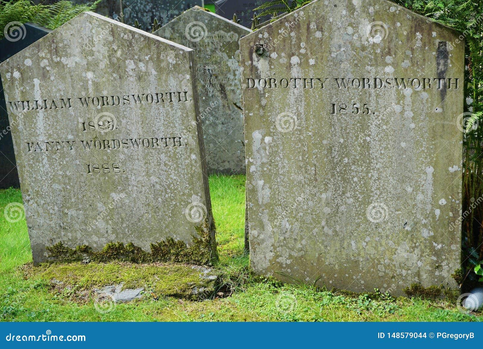 Zamyka w g?r? poeta William Wordsworth Gravestone w Angielskim Jeziornym okr?gu