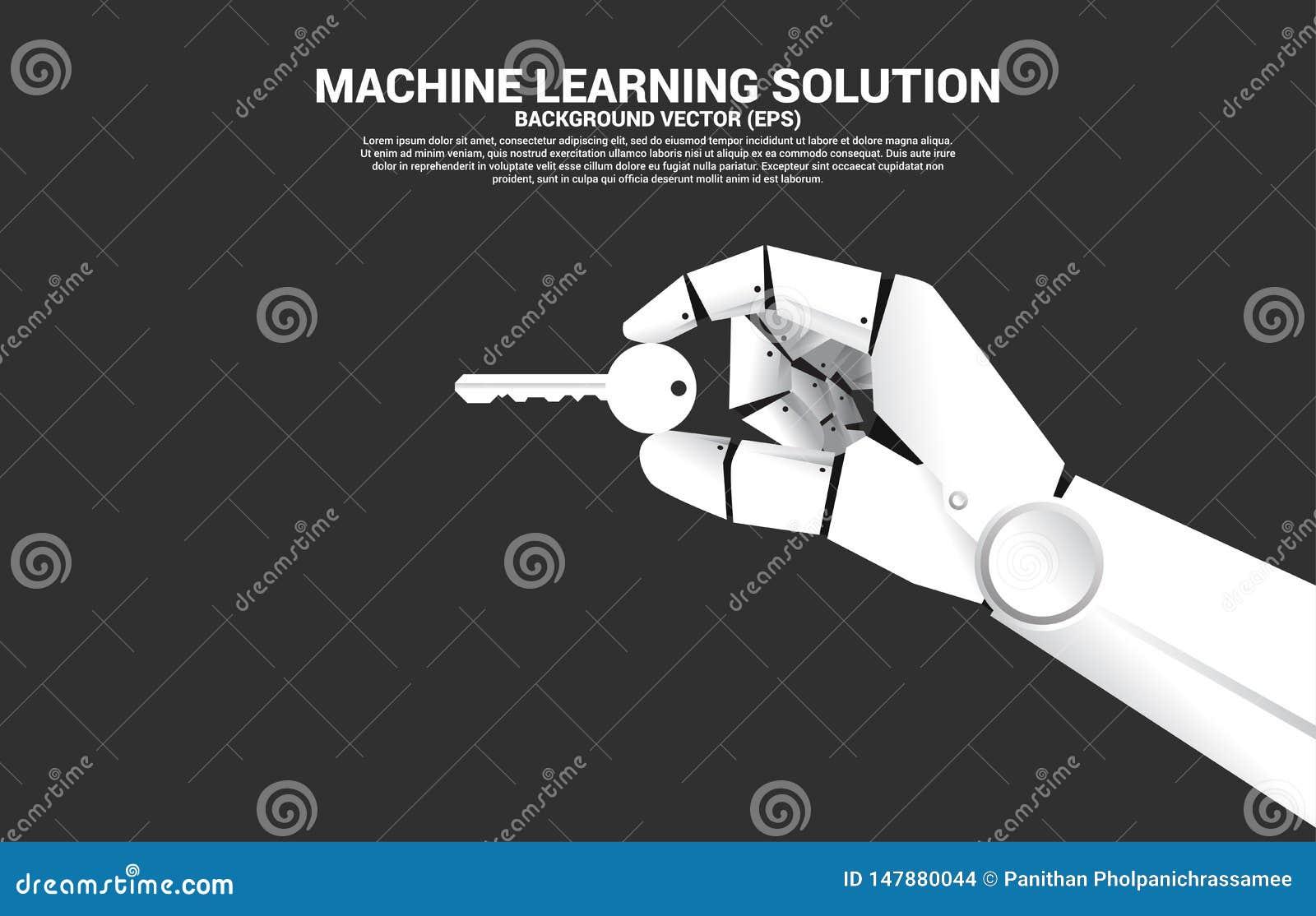 Zamyka w górę robot ręki chwyta klucz