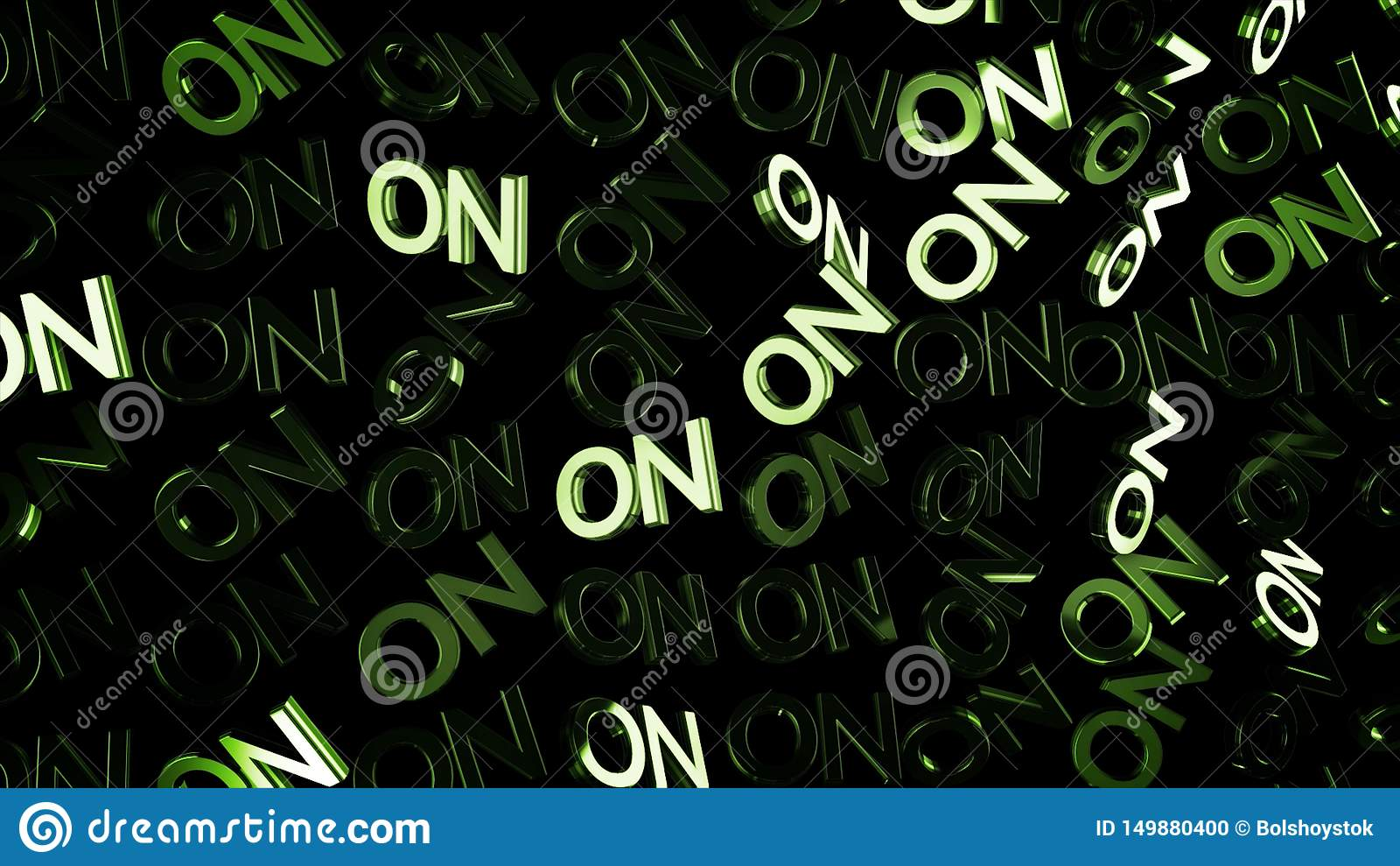 Zamyka w górę wiele słów DALEJ w zielonym kolorze i strumieniu światło na czarnym tle dla animacja Kapitałowi anglików listy