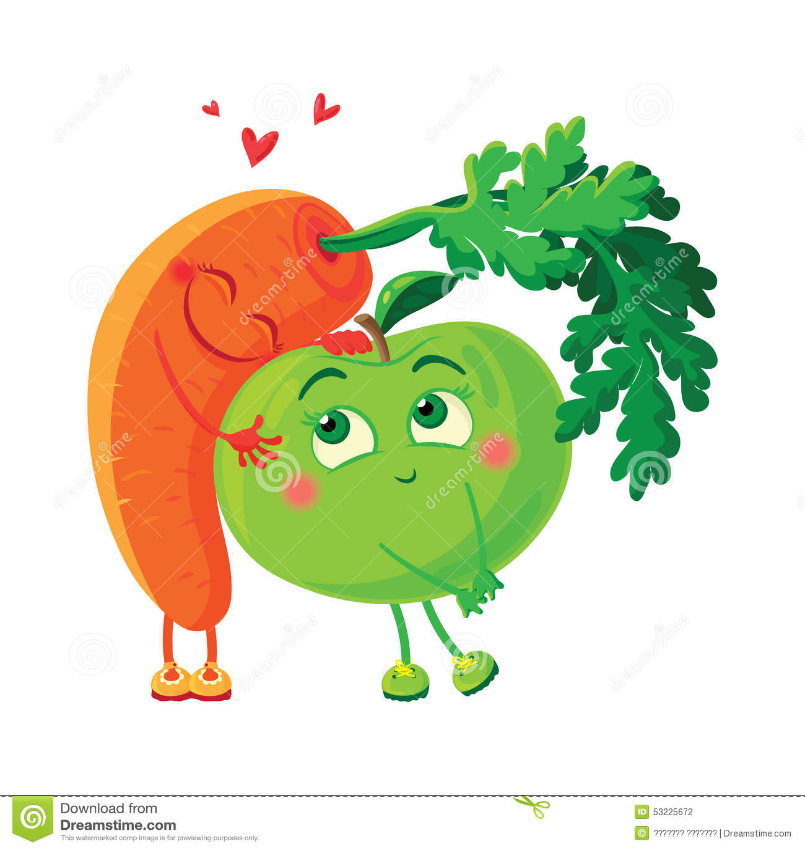 Zanahorias en amor con la manzana Abrazo de las verduras