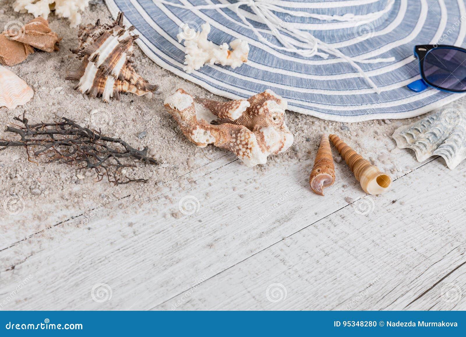 Zand en shells en hoed op de houten vloer de zomerconcept stock