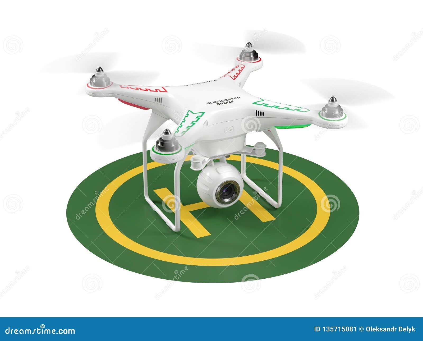 Zangão de aterrissagem no heliporto verde 3d
