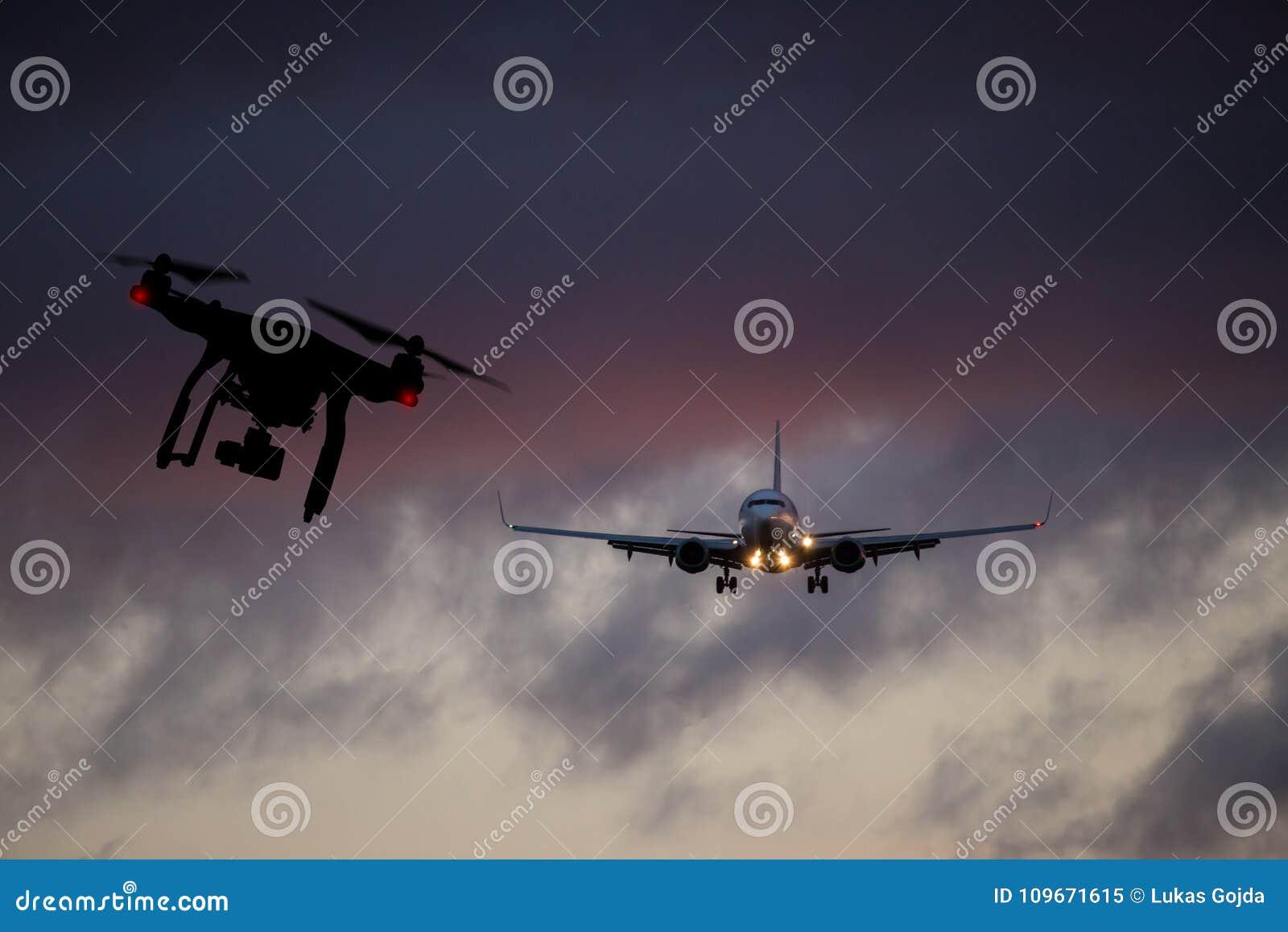 Zangão que voa perto do avião comercial