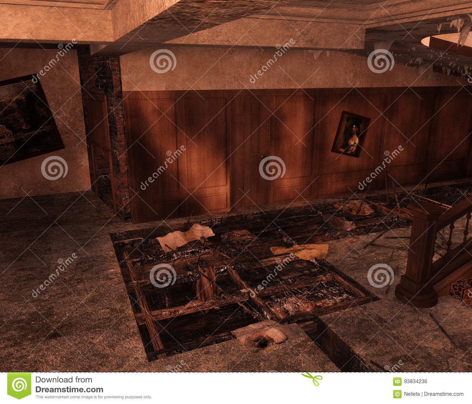 Zaniechany wnętrze, 3D CG