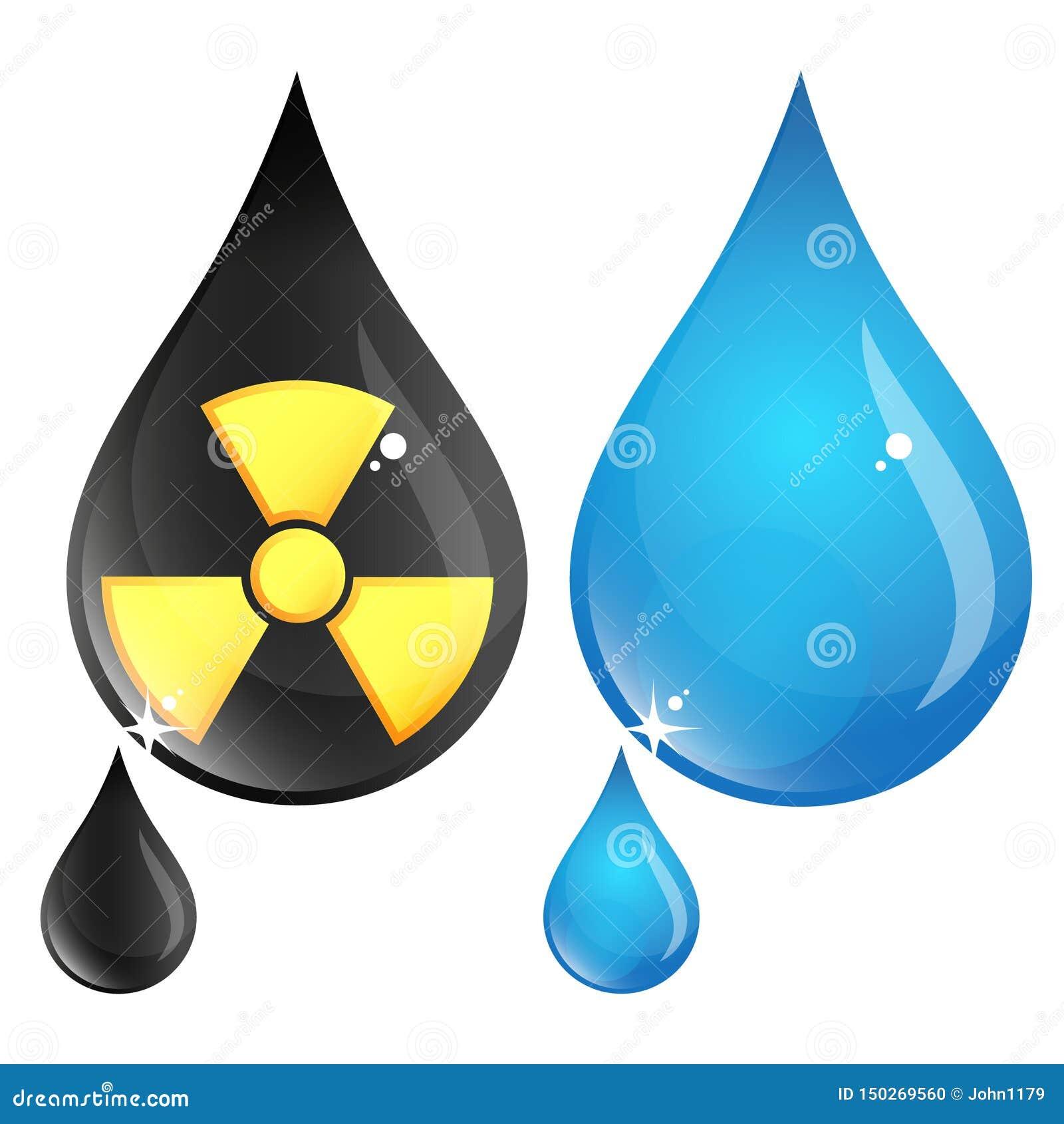 Zanieczyszczający i czyści kroplę woda