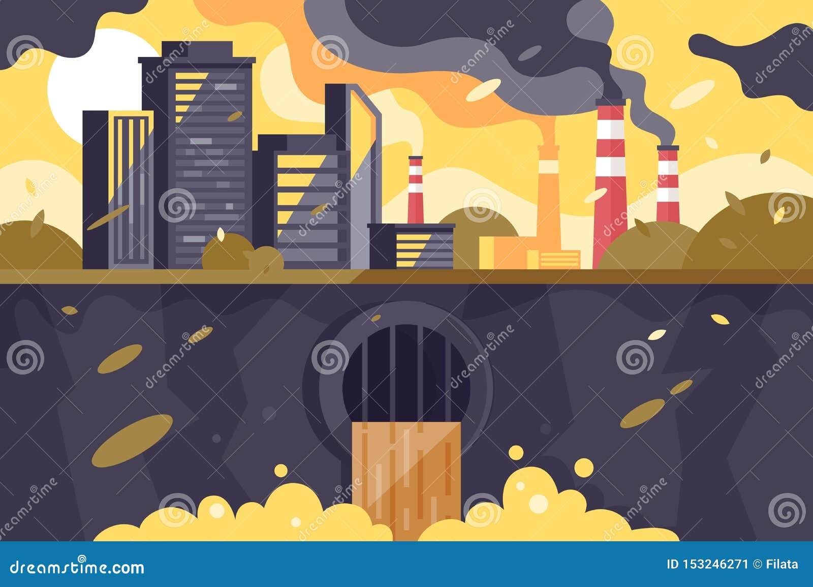 Zanieczyszczający miasto krajobraz