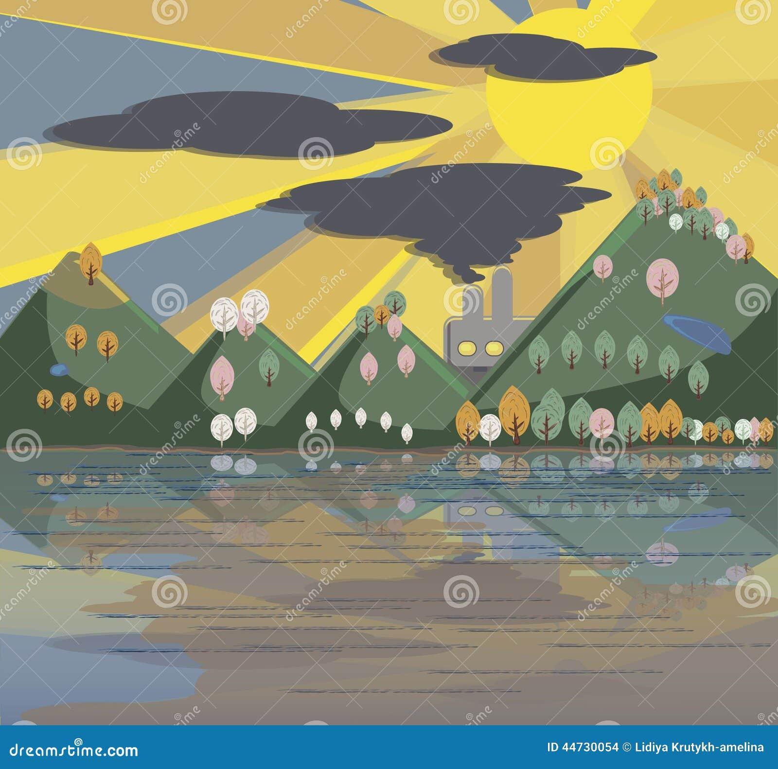 Zanieczyszczający natury kreskówki krajobraz