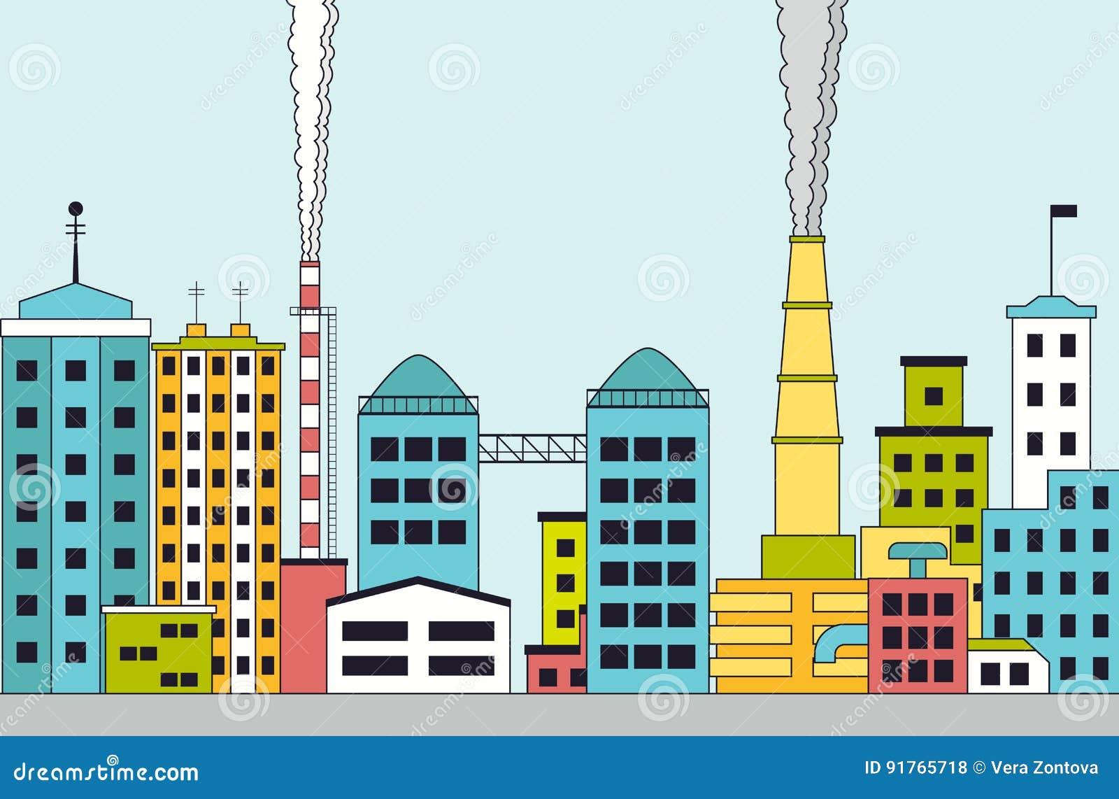 Zanieczyszczający przemysłowy miasto z fabrykami
