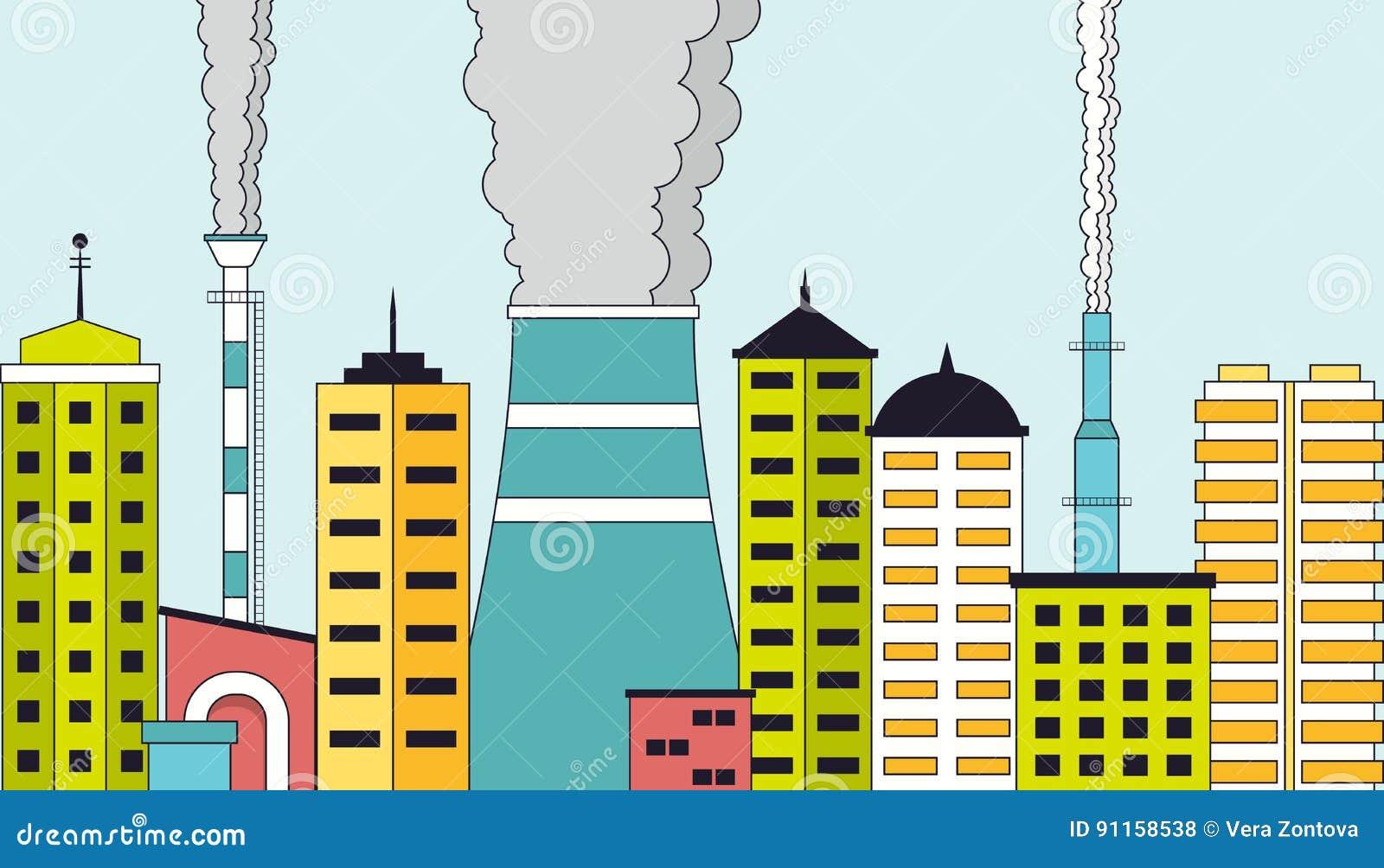 Zanieczyszczający przemysłowy pejzaż miejski