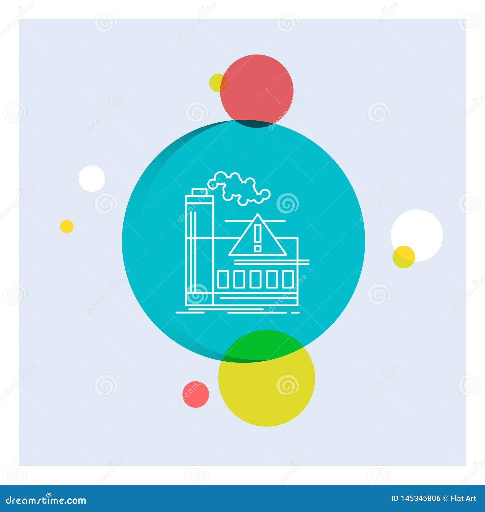 Zanieczyszczenie, fabryka, powietrze, ostrzeżenie, przemysł Białej linii ikony okręgu kolorowy tło