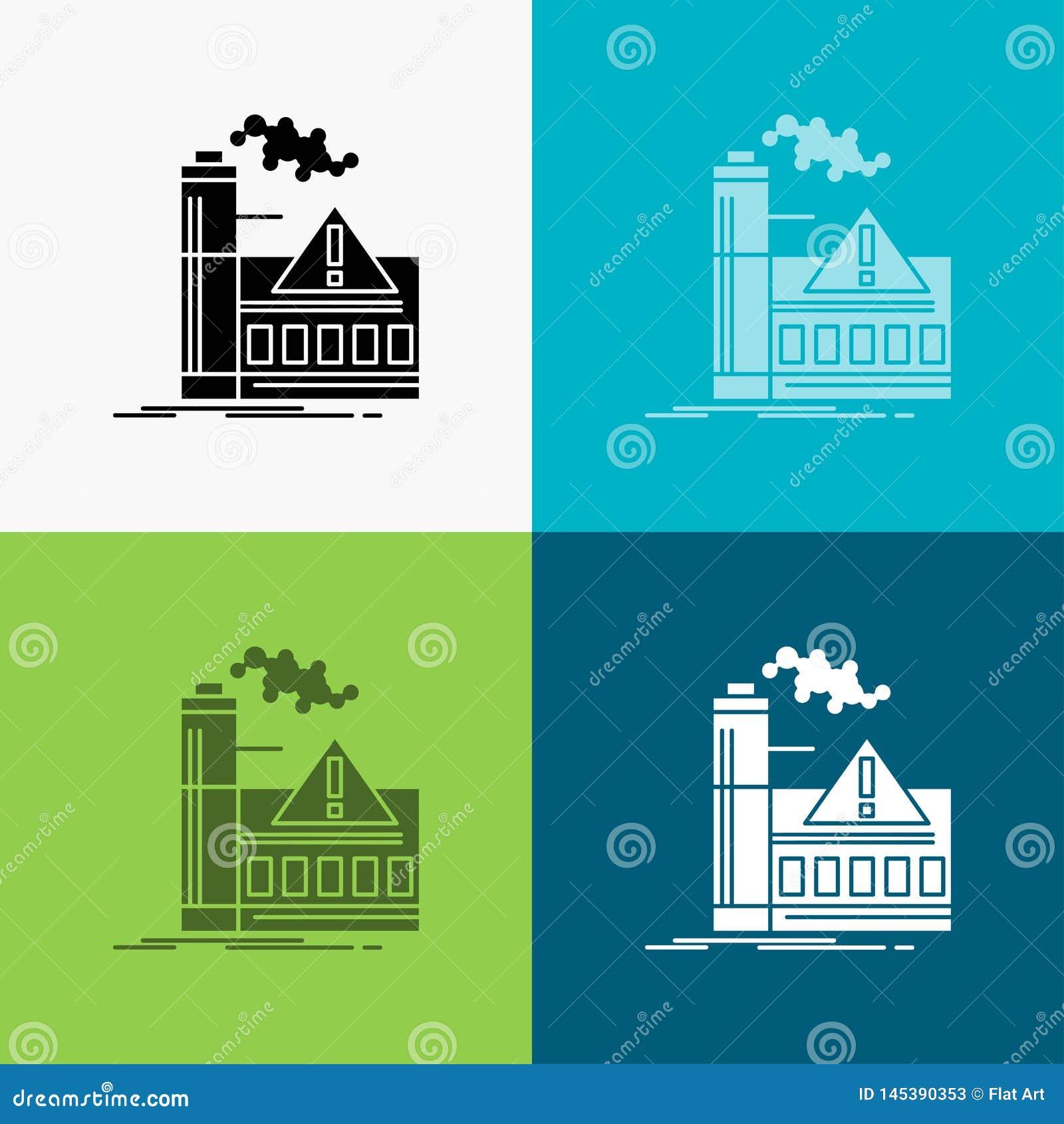 Zanieczyszczenie, fabryka, powietrze, ostrze?enie, przemys? ikona Nad R??norodnym t?em glifu stylu projekt, projektuj?cy dla siec