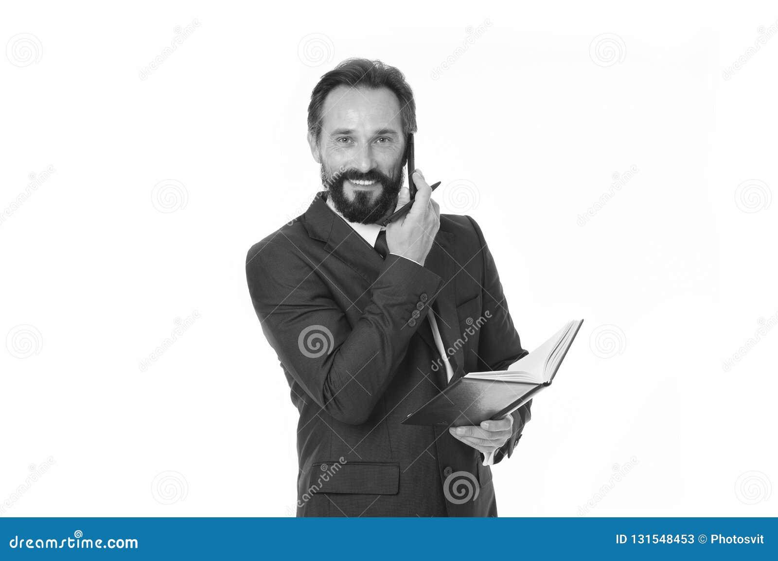 Zanim wezwanie pisze puszek informaci musi przenosić i cokolwiek potrzeba pyta klienta Biznesmen dzwoni klienta chwyta notepad