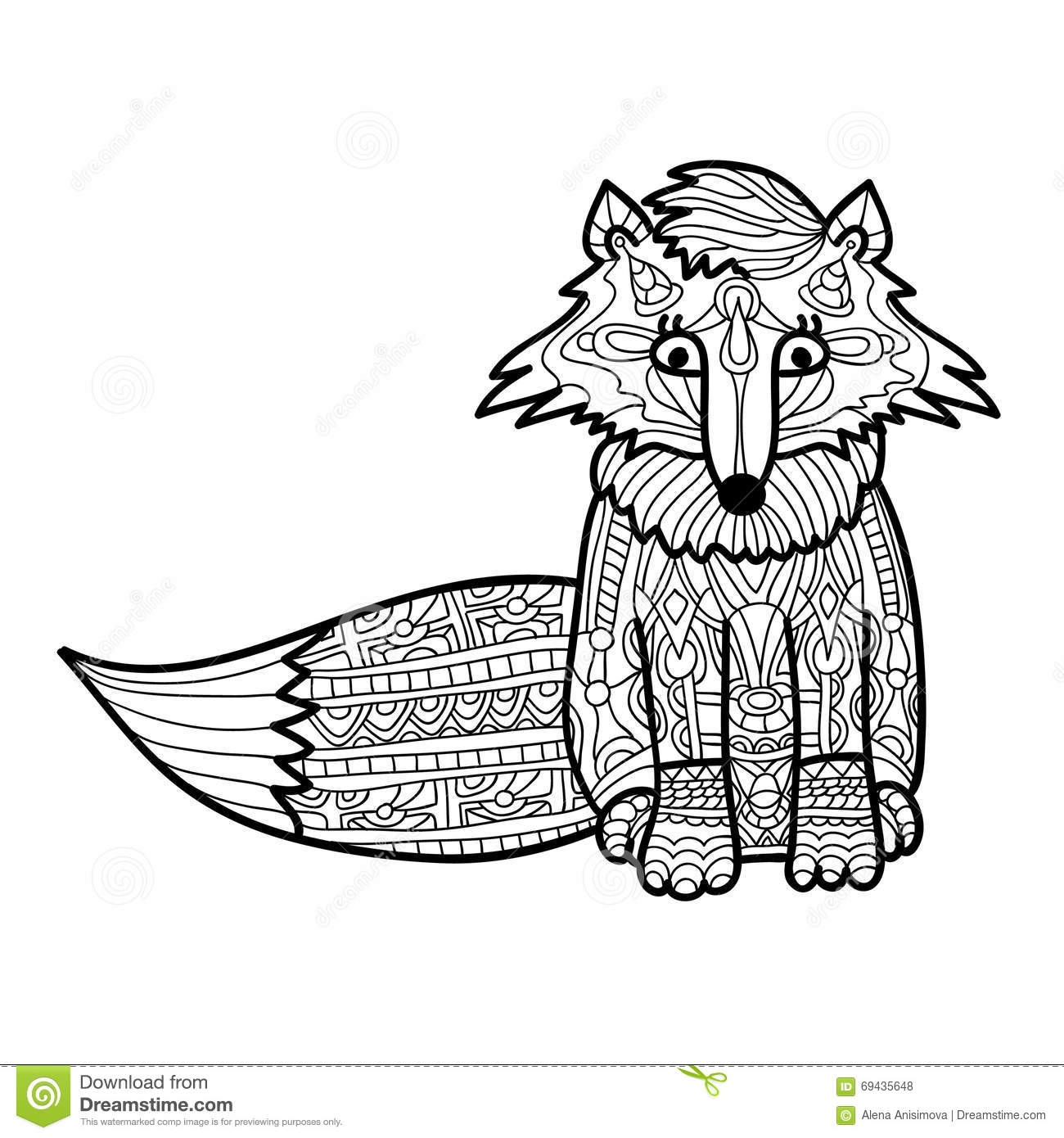 Zantangle Fox Handmade Isolated Vector On A White Background For Your Design Collection Of Animals Coloring Book Stock Vector Illustration Of Hand Floral 69435648