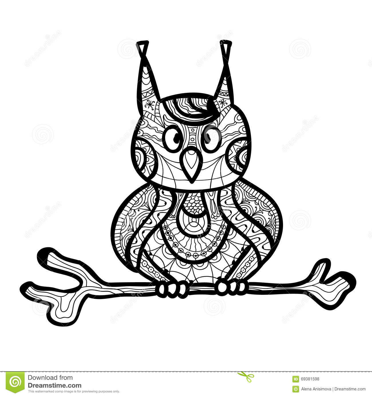 zantangle owl handmade isolated vector on a white background
