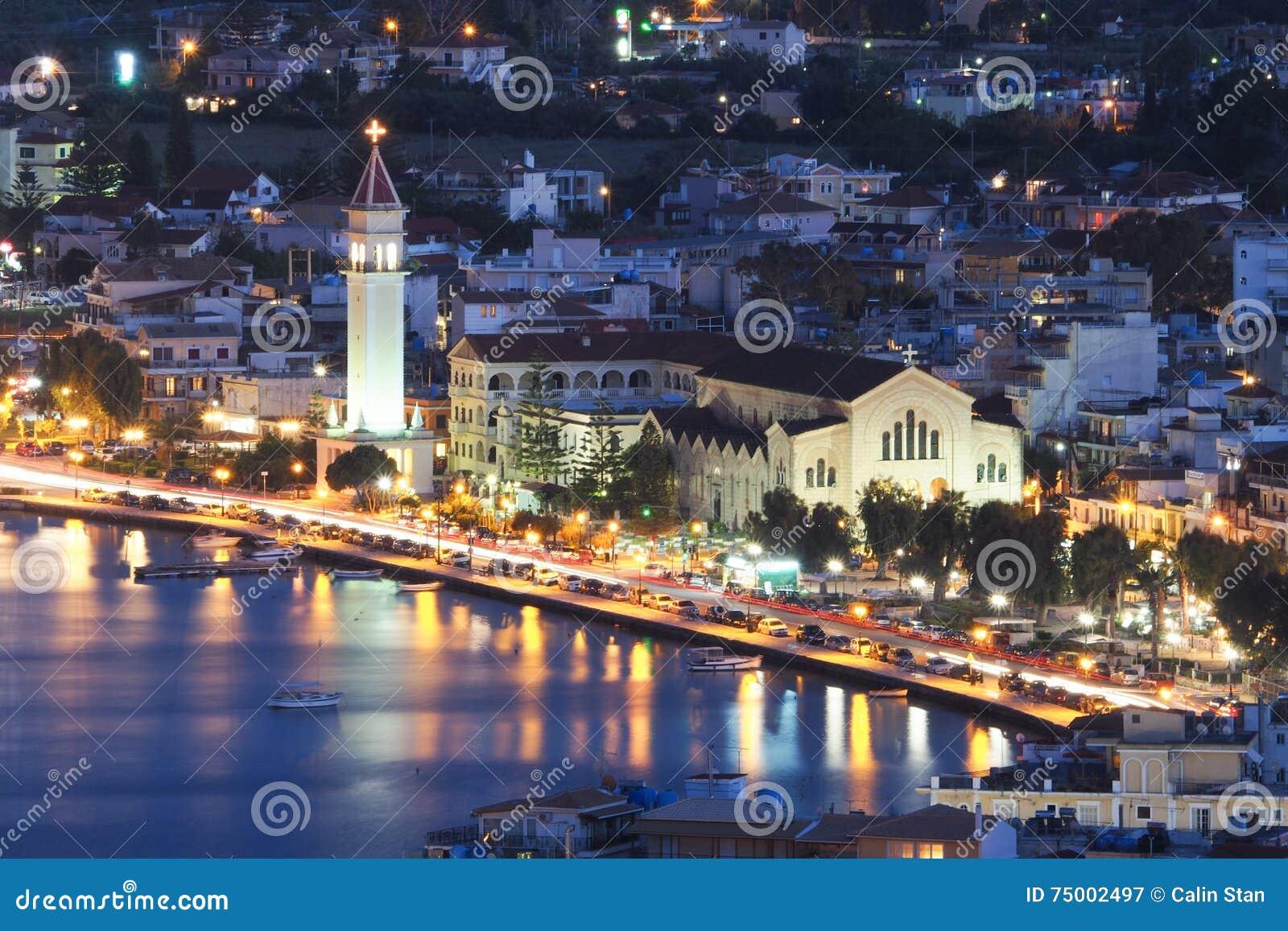 Zantestad Zakynthos Griekenland bij nacht Centrum van de stad, dichtbij t