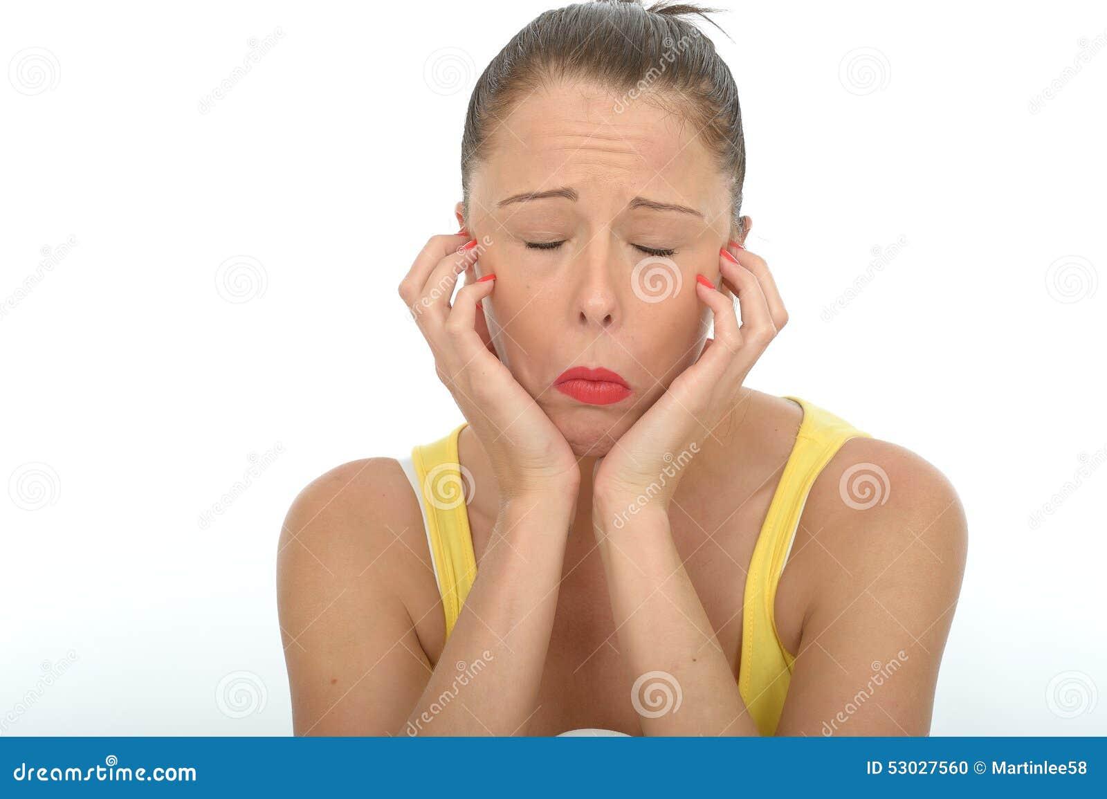 Zanudzający Nieszczęśliwy Przygnębiony Emocjonalny młoda kobieta portret