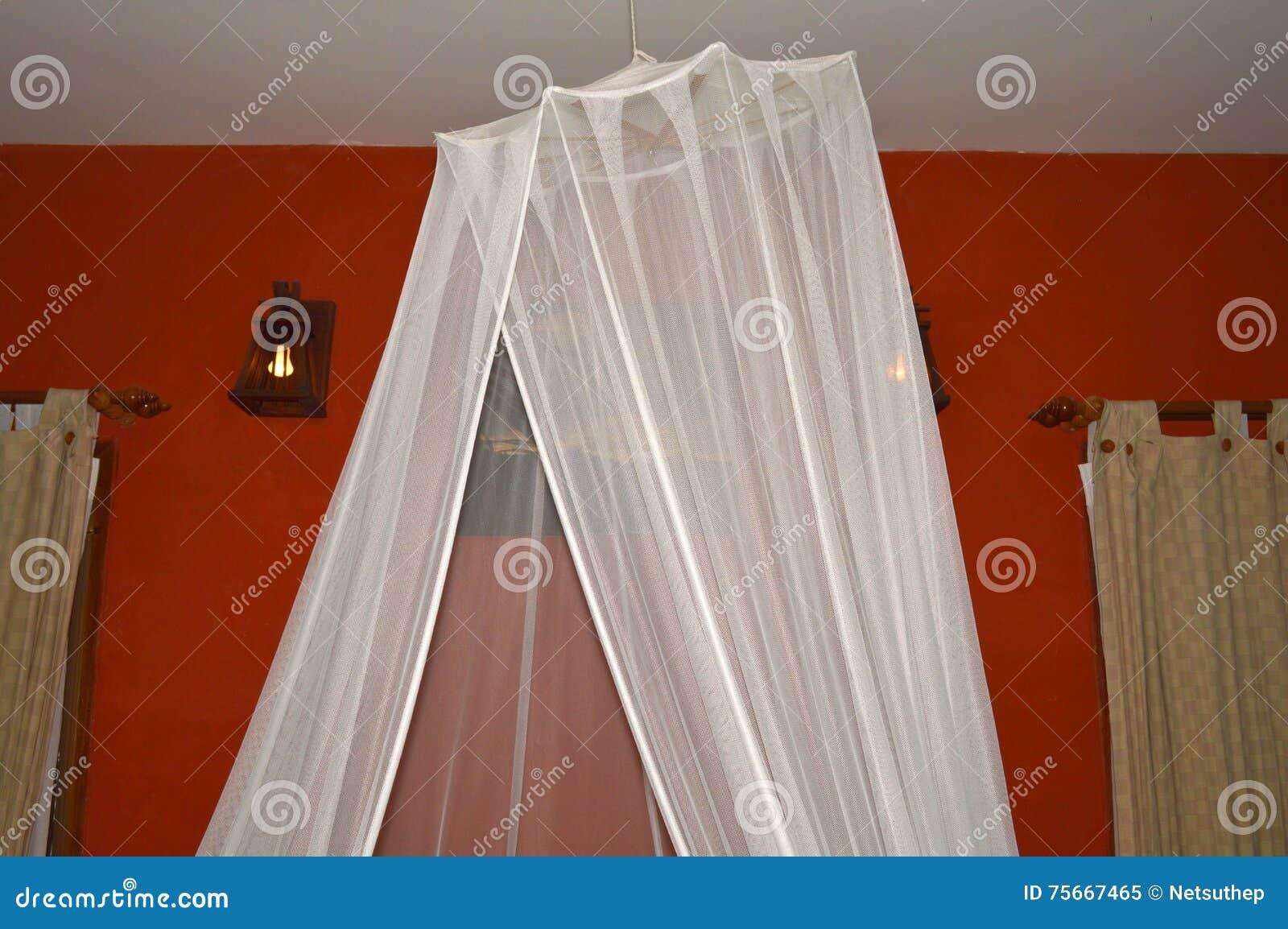 Zanzariera Da Letto : Zanzariera appesa su in camera da letto immagine stock immagine