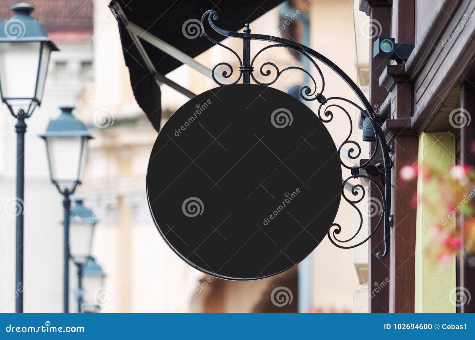 Zaokrąglony czarny firma znaka mockup z kopii przestrzenią