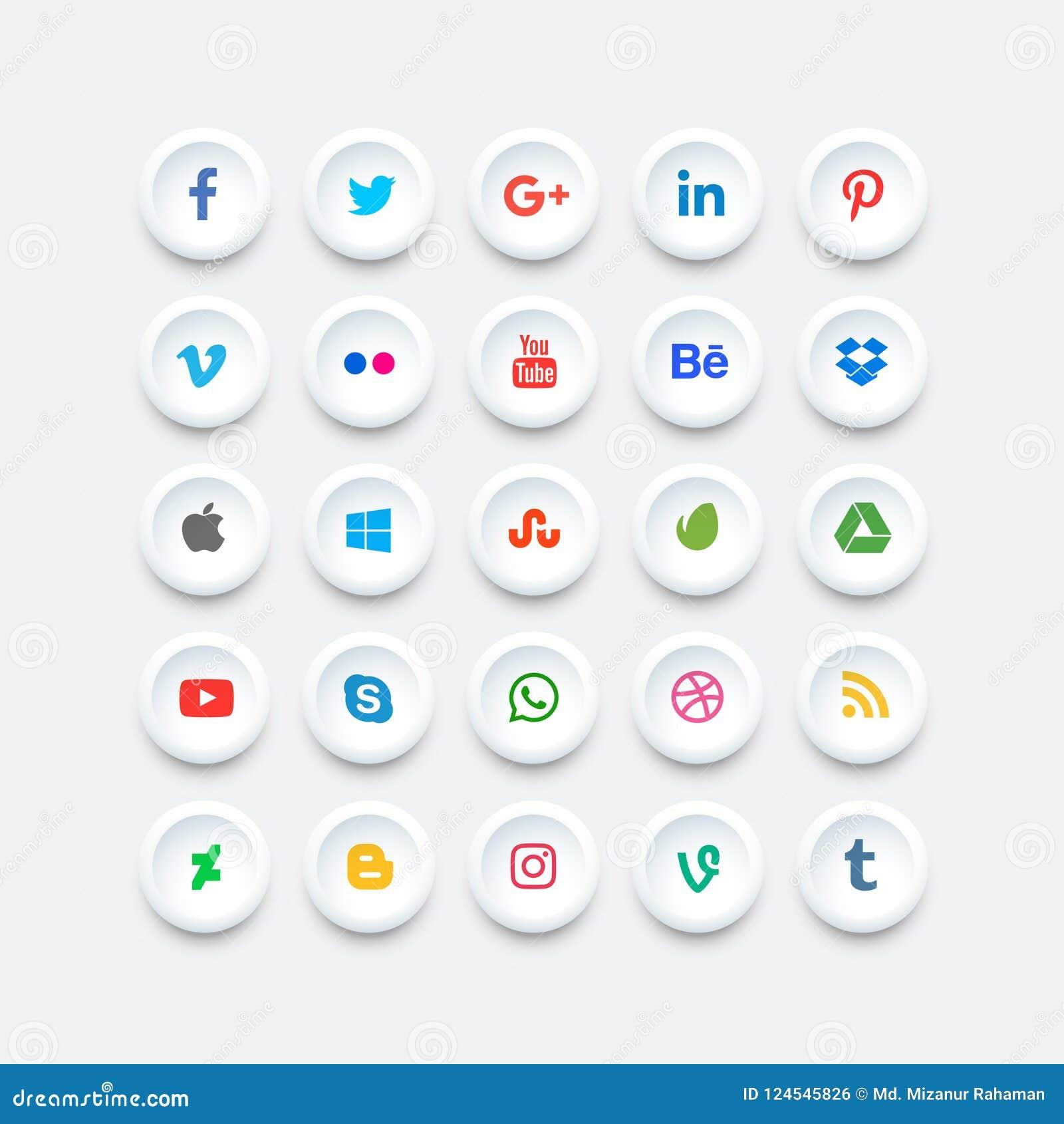 Zaokrąglony ogólnospołeczny medialny ikona set Płaska wektorowa projekt ikona dla sieci Zadziwiająca ilustracja