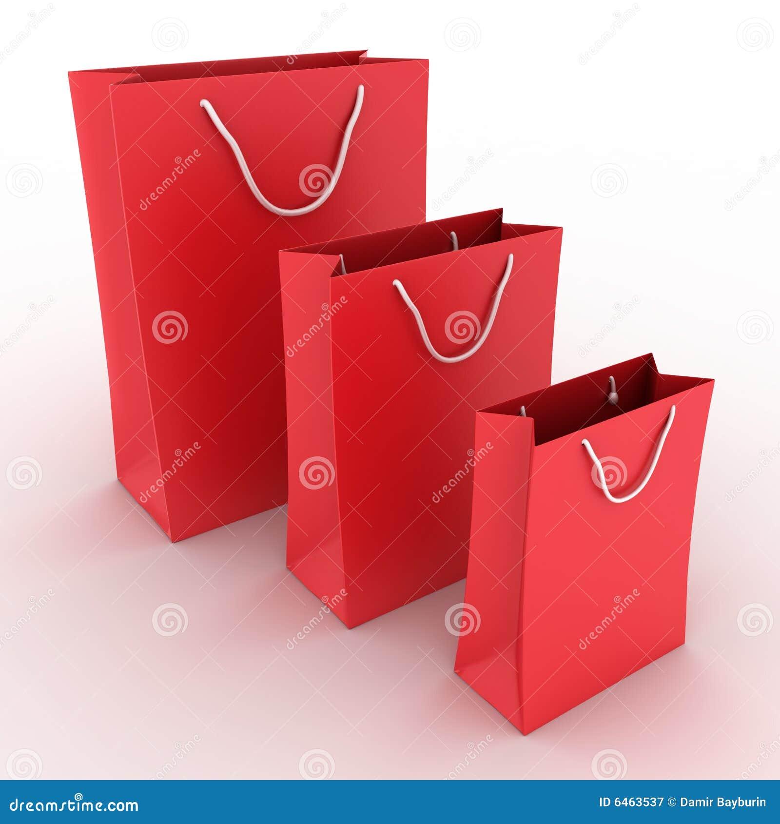 Zapakuj tła czerwonego zakupy trzech białych