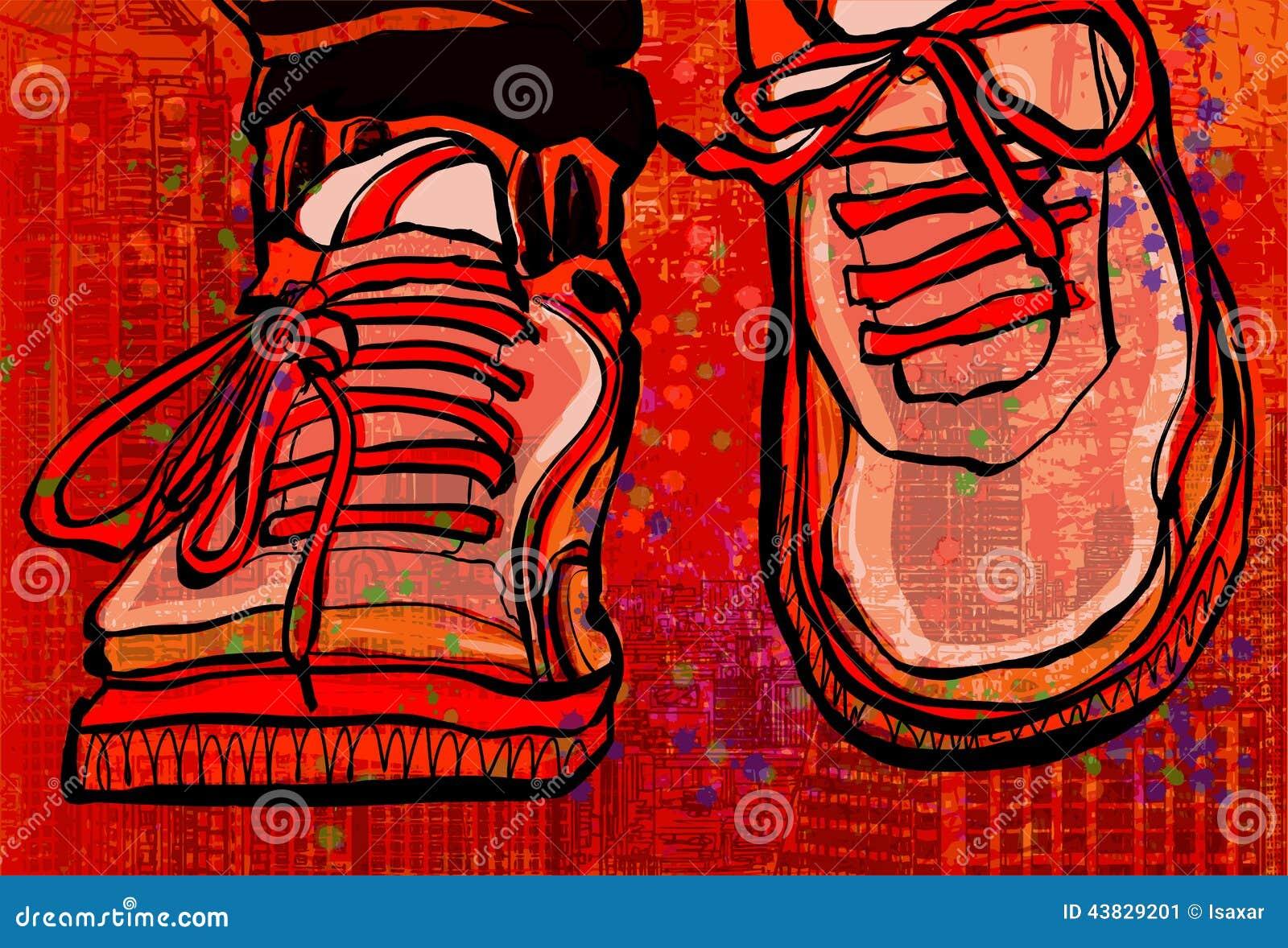 Zapatillas De Baloncesto Sobre Un Fondo De La Ciudad Del Grunge ...