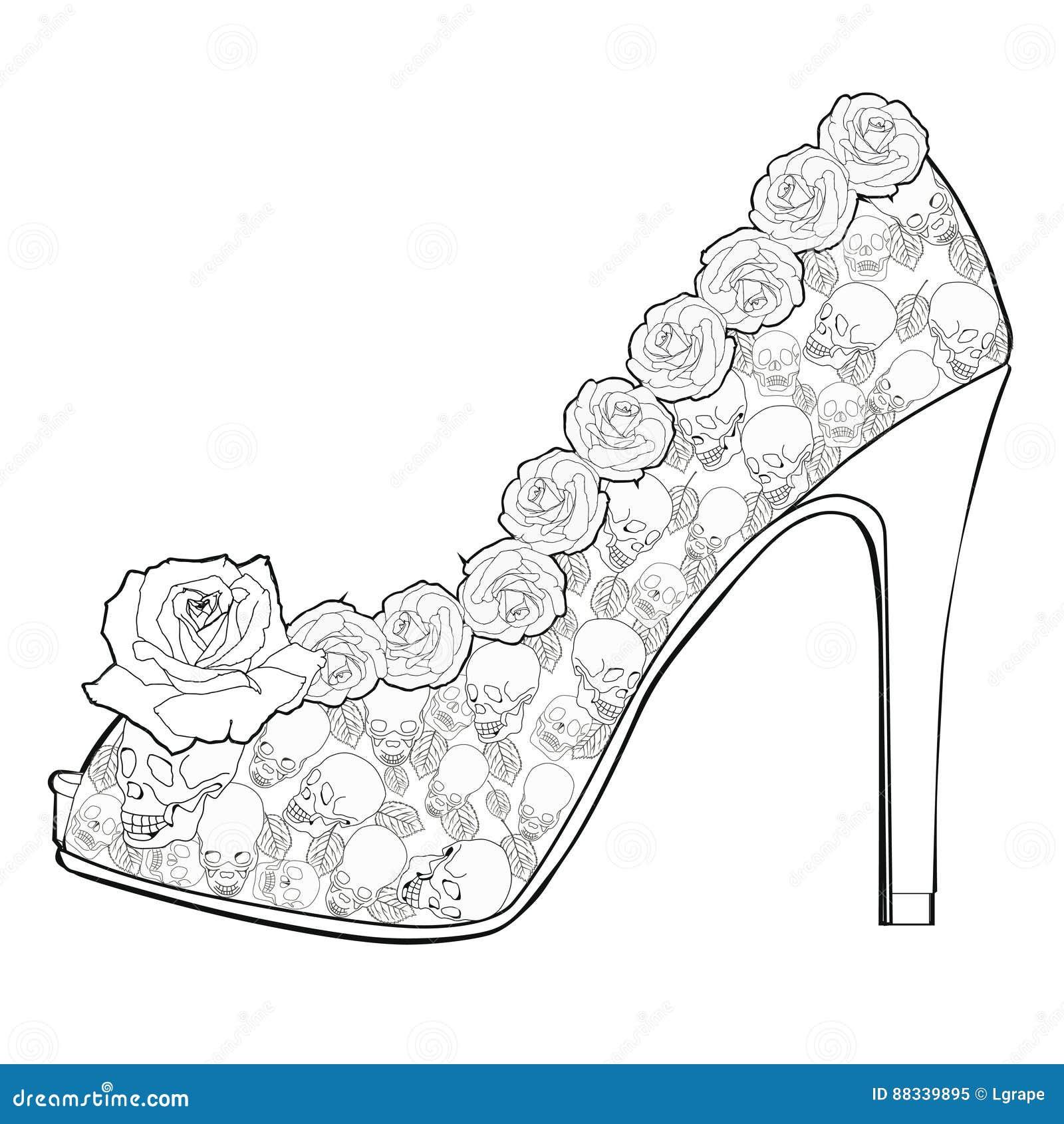 Zapato Con Las Rosas Y Los Cráneos Libros De Colorear Para Los ...