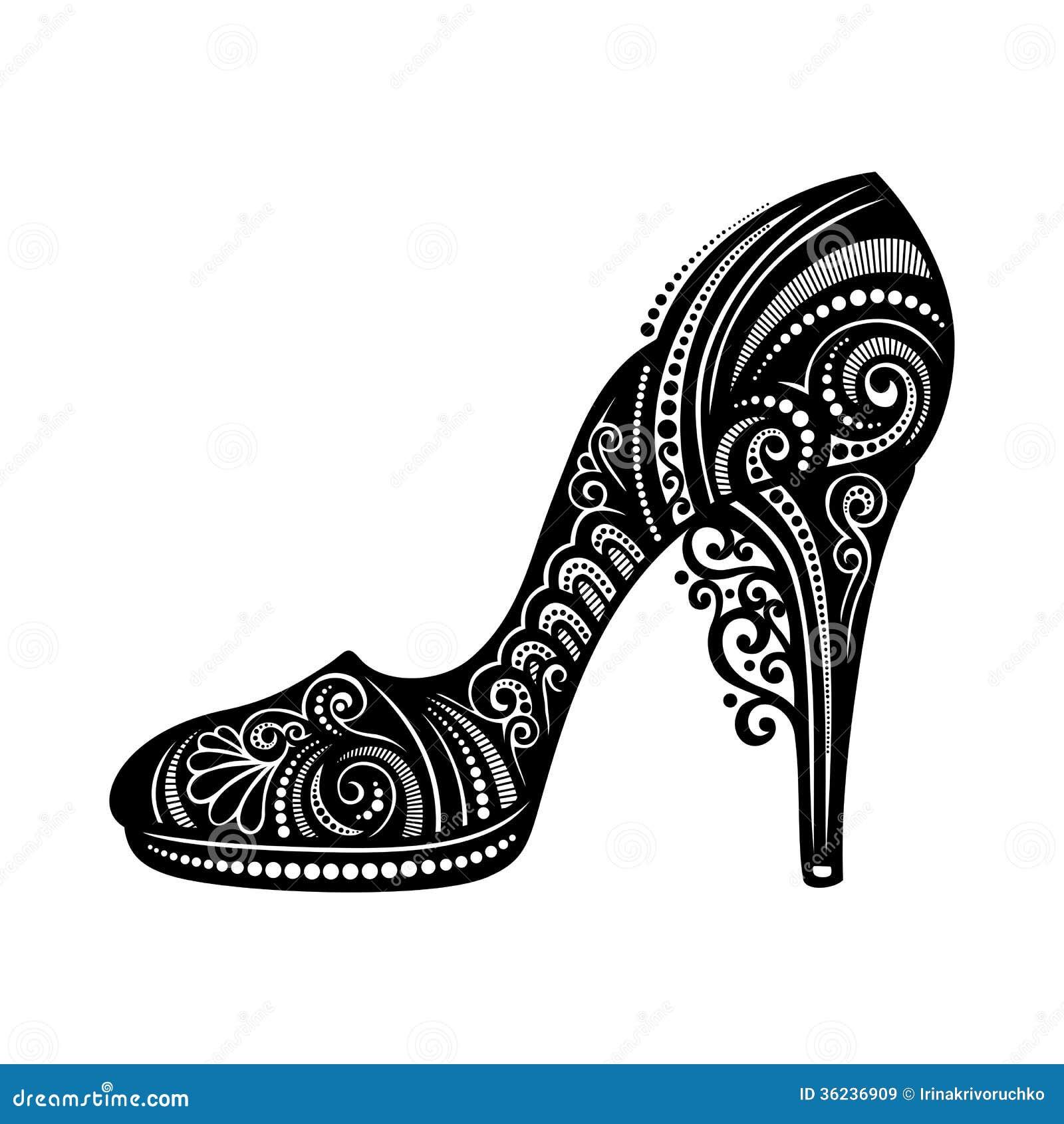 Zapato Para Mujer Adornado Del Vector Ilustración Del