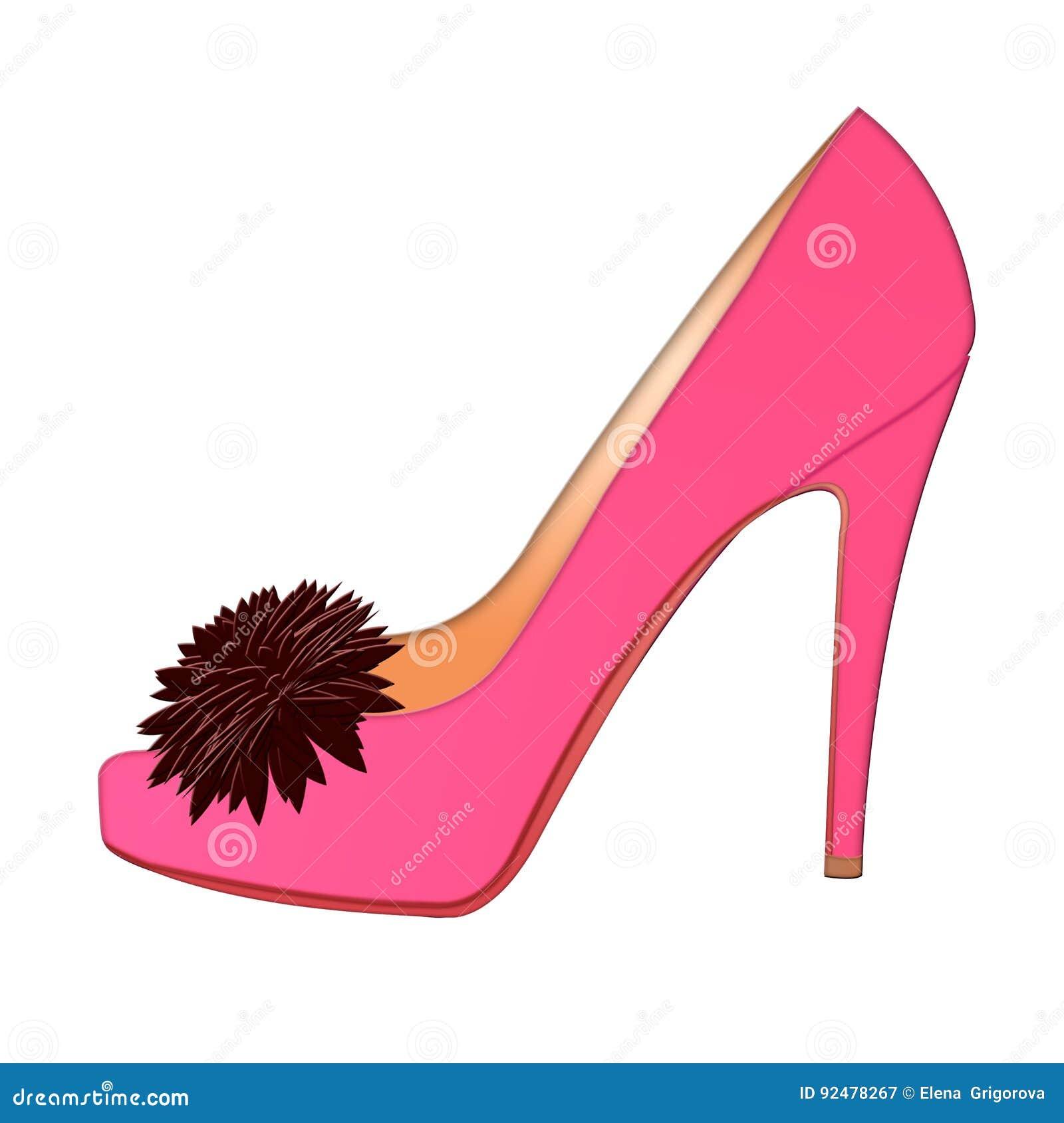 Zapato rosado del ` s de las mujeres zapato del ` s de las mujeres del icono con la flor en el fondo