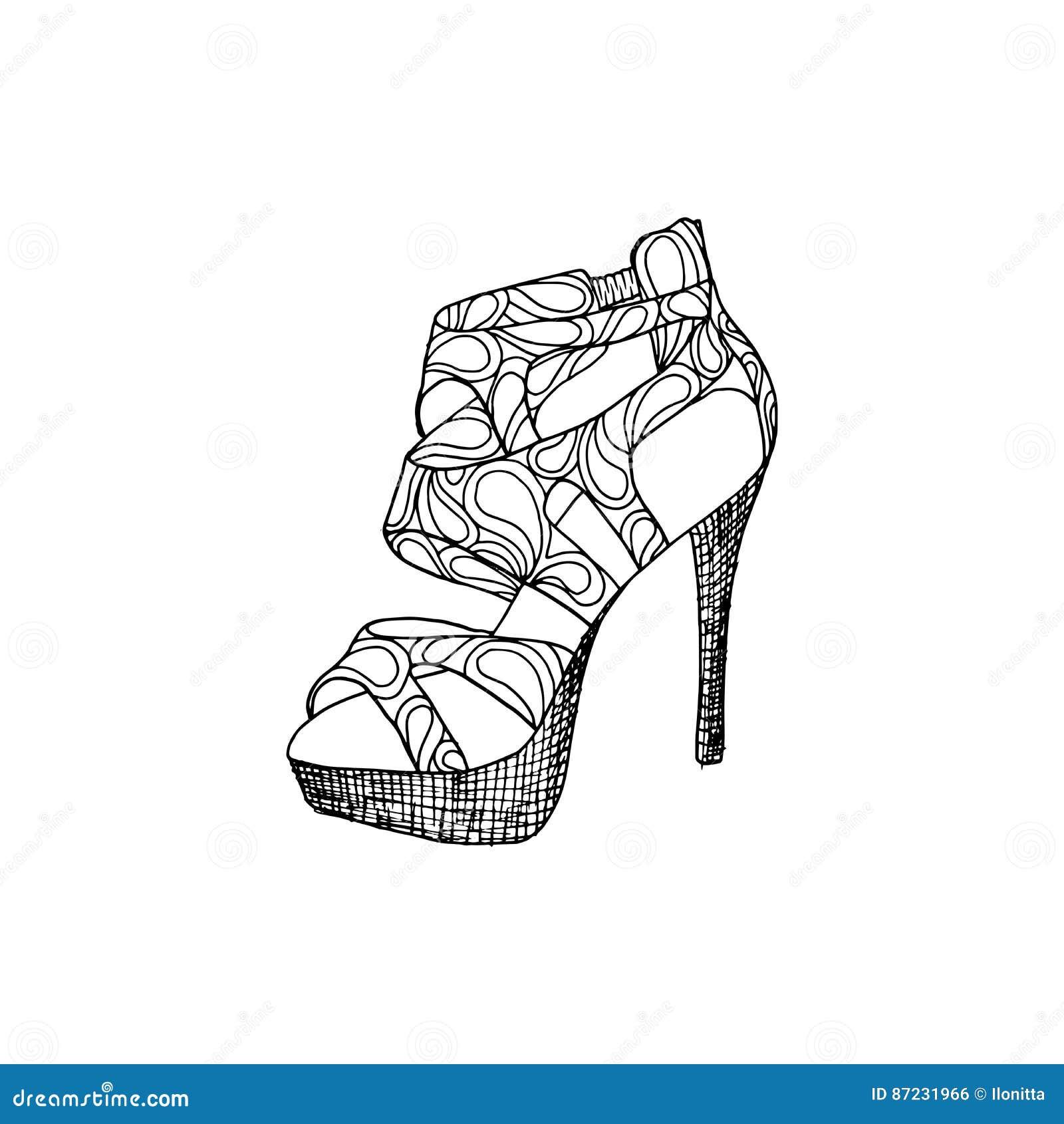 Zapatos De Tacón Alto Para La Mujer Forme Las Ilustraciones