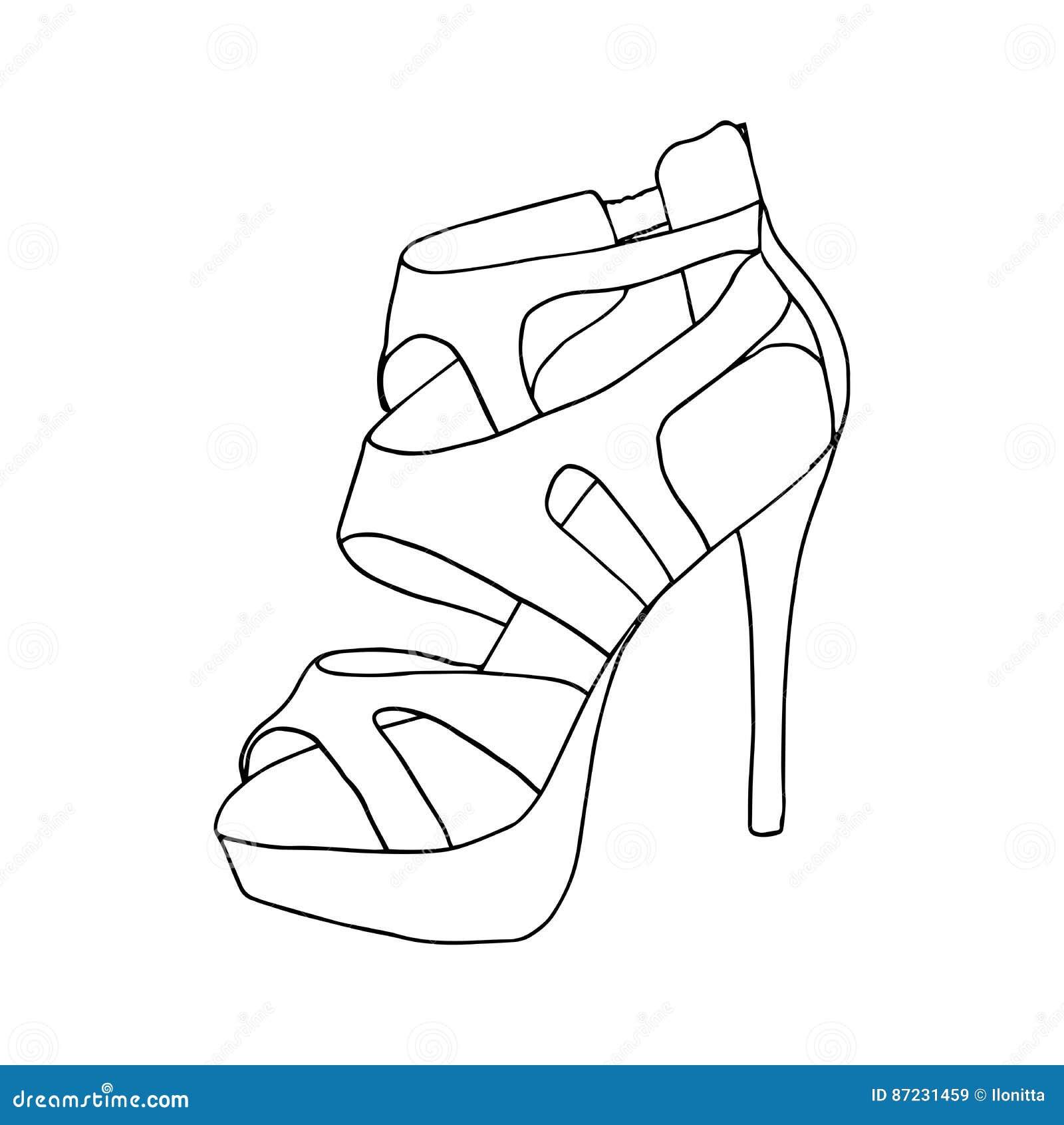 Zapatos De Tacón Alto Para La Mujer Ilustraciones Del Calzado De La