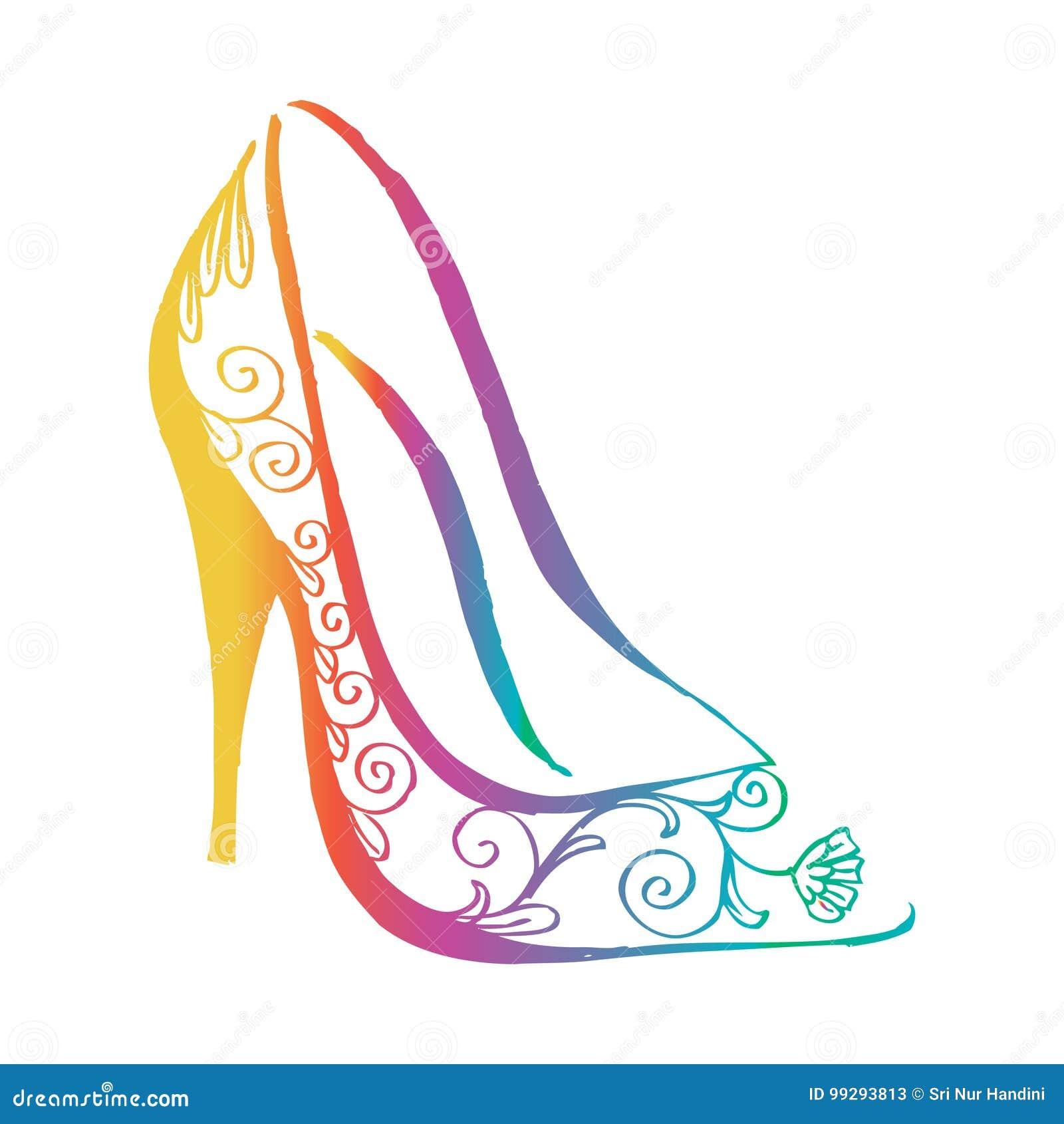 De Zapatos Del Stock Decorativos Tacón Alto Ilustración dCorBxe