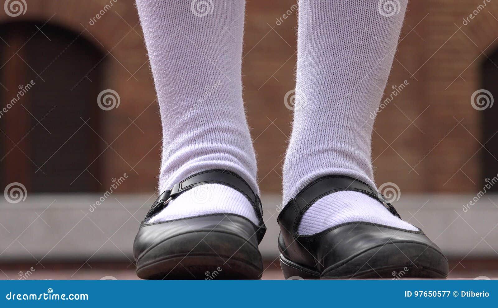 adolescentes Zapatos blancos calcetines y femeninos 8Oq5f