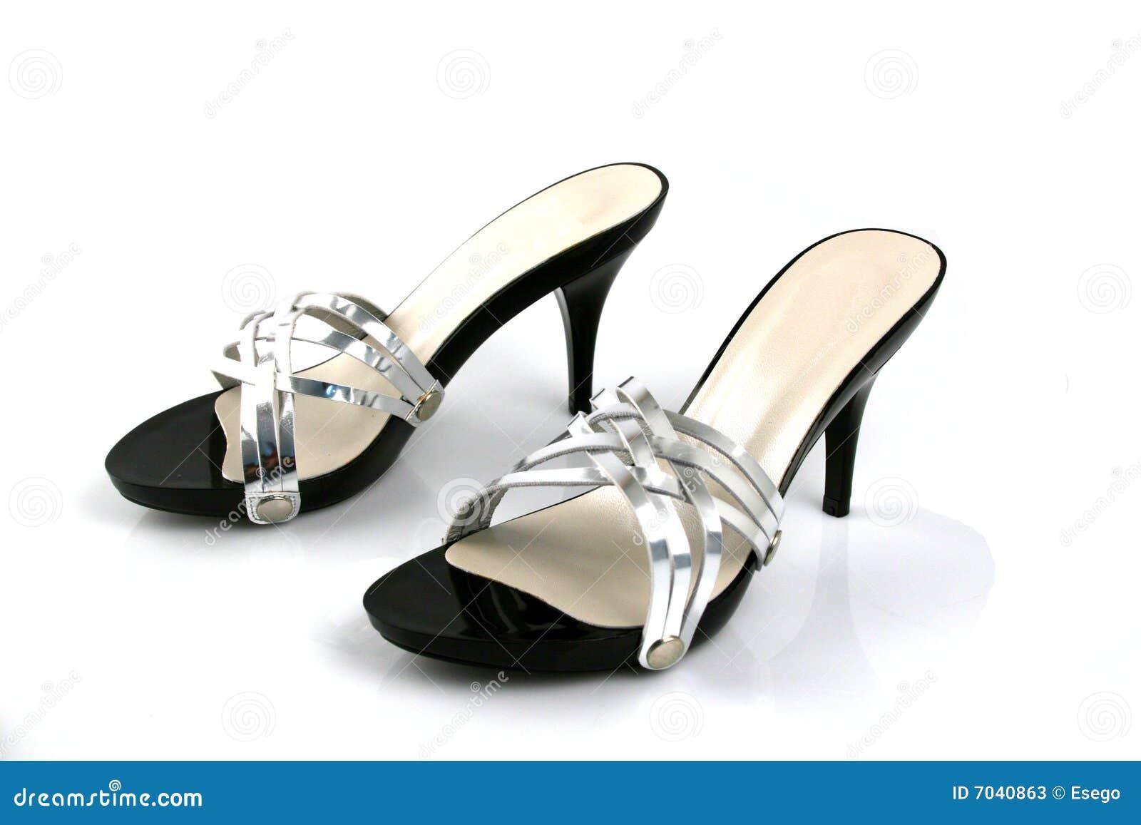 femeninos plata y negros Zapatos de xU7wYqSUdp