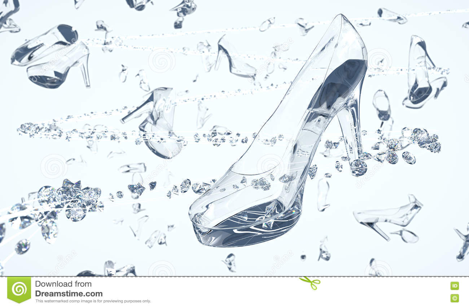 Zapatos Hechos Del Vidrio Y De Los Diamantes Que Flotan En Espacio ... ee7aaa17b632
