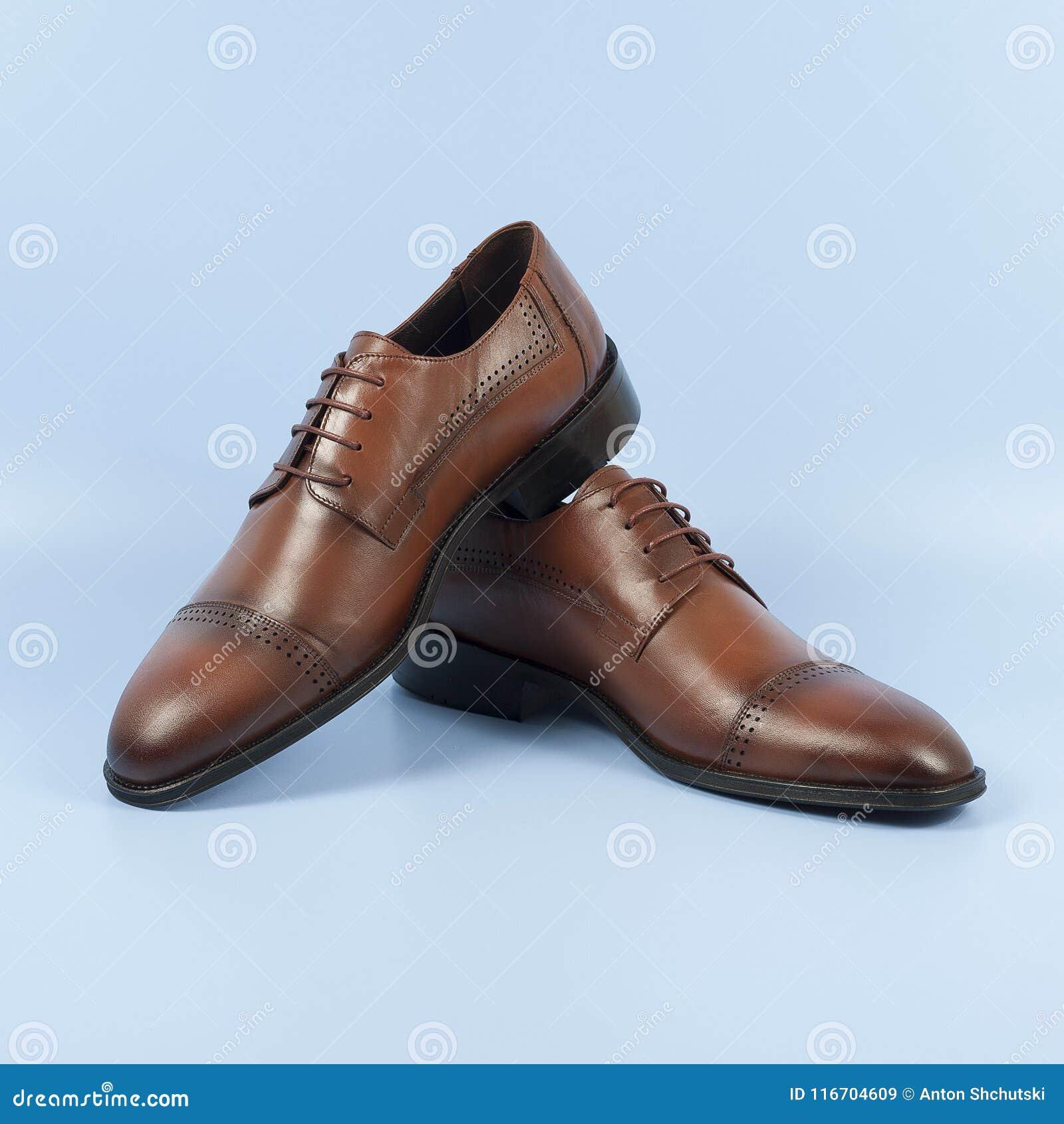 a4f30c1f01 Zapatos Marrones Masculinos Aislados En El Fondo Azul Imagen de ...
