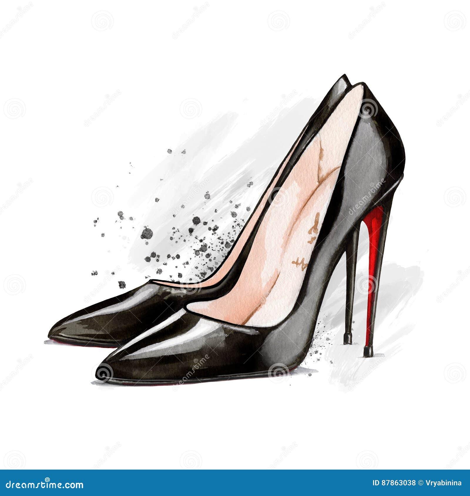 Negros Del Tacón Ilustración Zapatos Alto De Stock Acuarela La RSfdqF5w