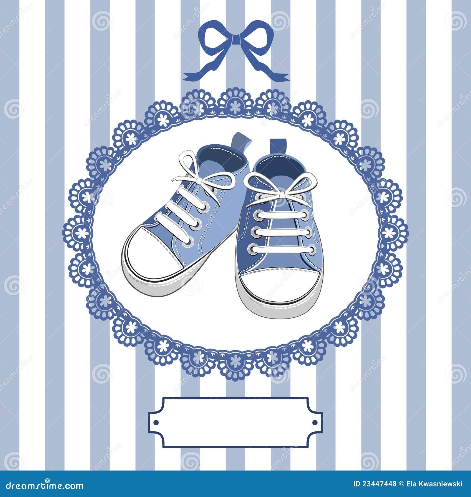 8308eb1a Zapatos Y Marco De Bebé Azul Ilustración del Vector - Ilustración de ...