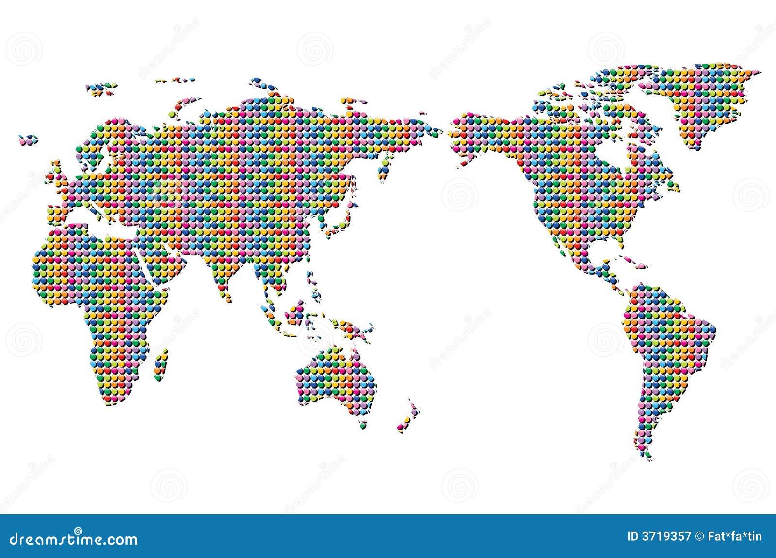 Zapnij kolorowego mapa świata