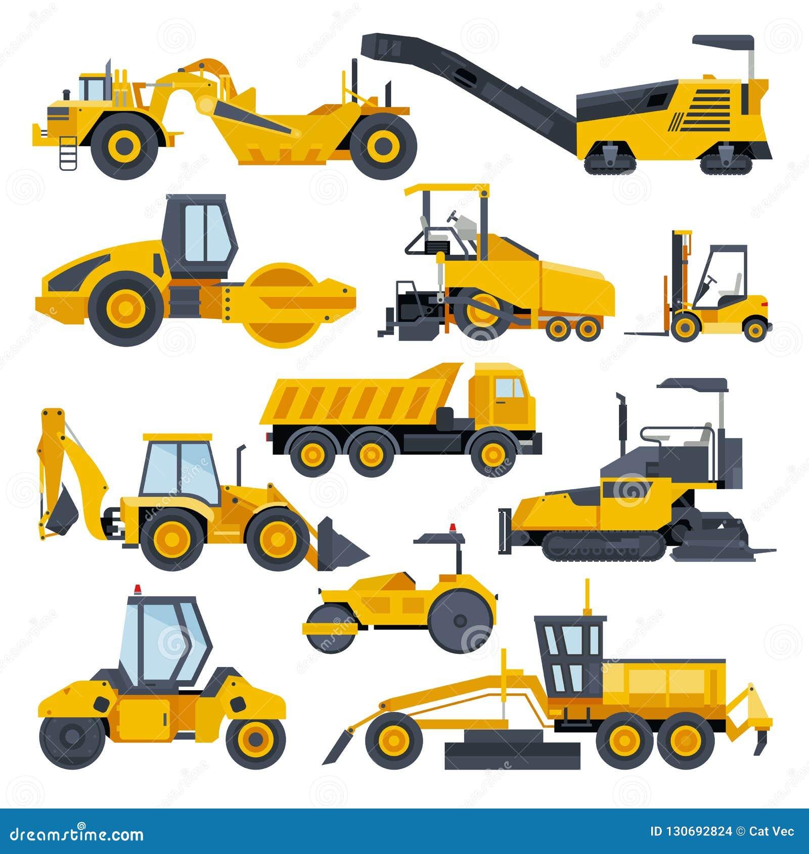 Zappatore o bulldozer di vettore della costruzione di strade dell escavatore che scava con l insieme dell illustrazione del macch