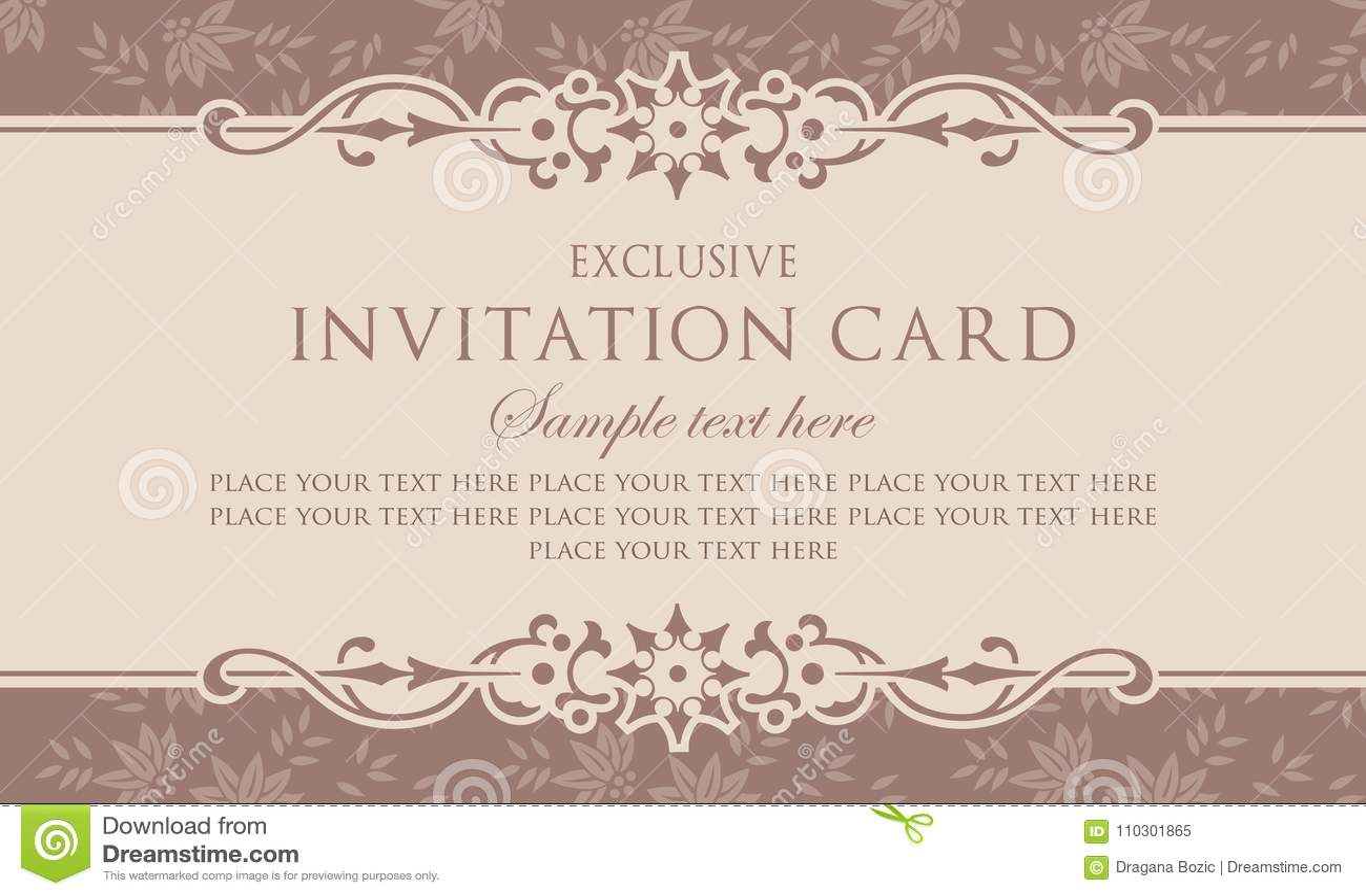 Zaproszenie Karciany Szablon Wyłączny Rocznika Styl
