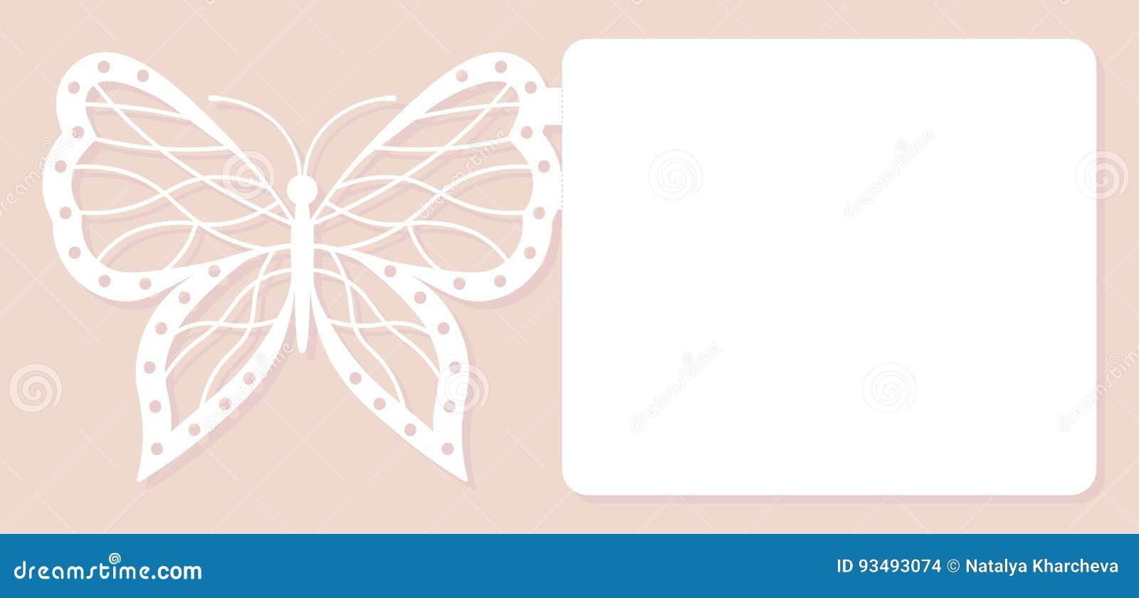 Zaproszenie karta, ślubna dekoracja, projekta element Elegancki motyli laseru cięcie również zwrócić corel ilustracji wektora